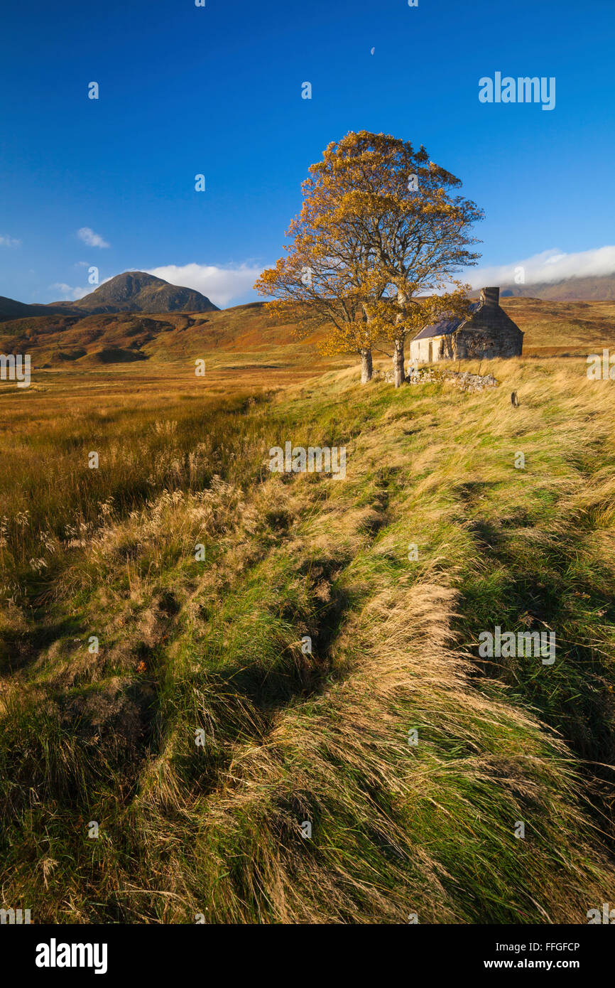 An abandoned building at Lettermore on Loch Loyal, Sutherland, Scotland. - Stock Image