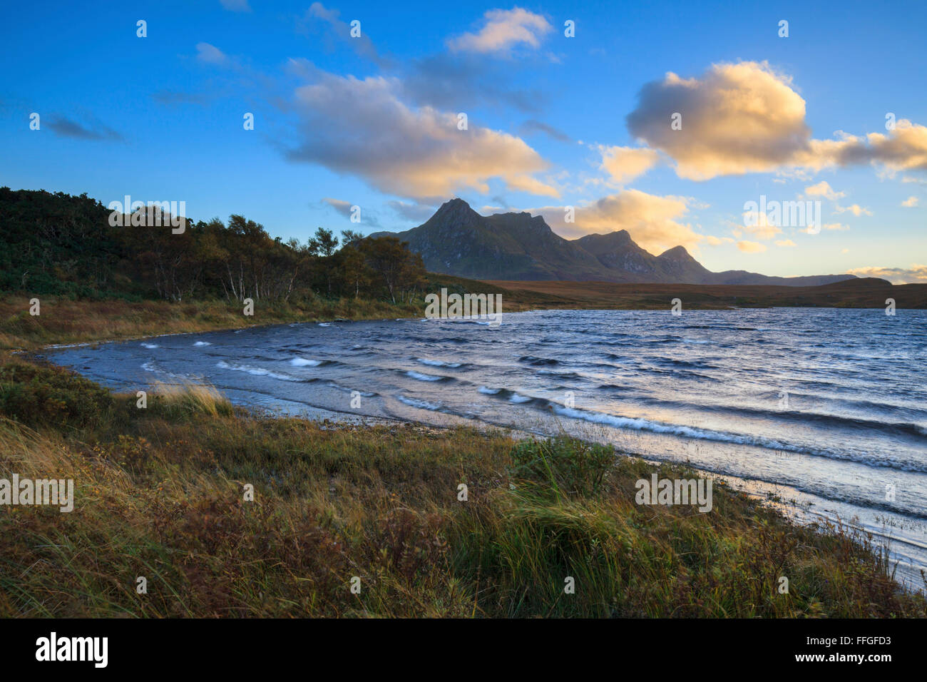 Waves on Loch Hakel, with Ben Loyal in the distance. - Stock Image