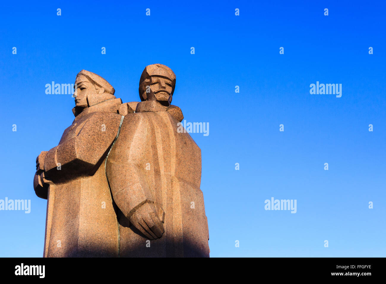 Latvian Riflemen monument on Latvian Riflemen sq. Riga, Latvia - Stock Image