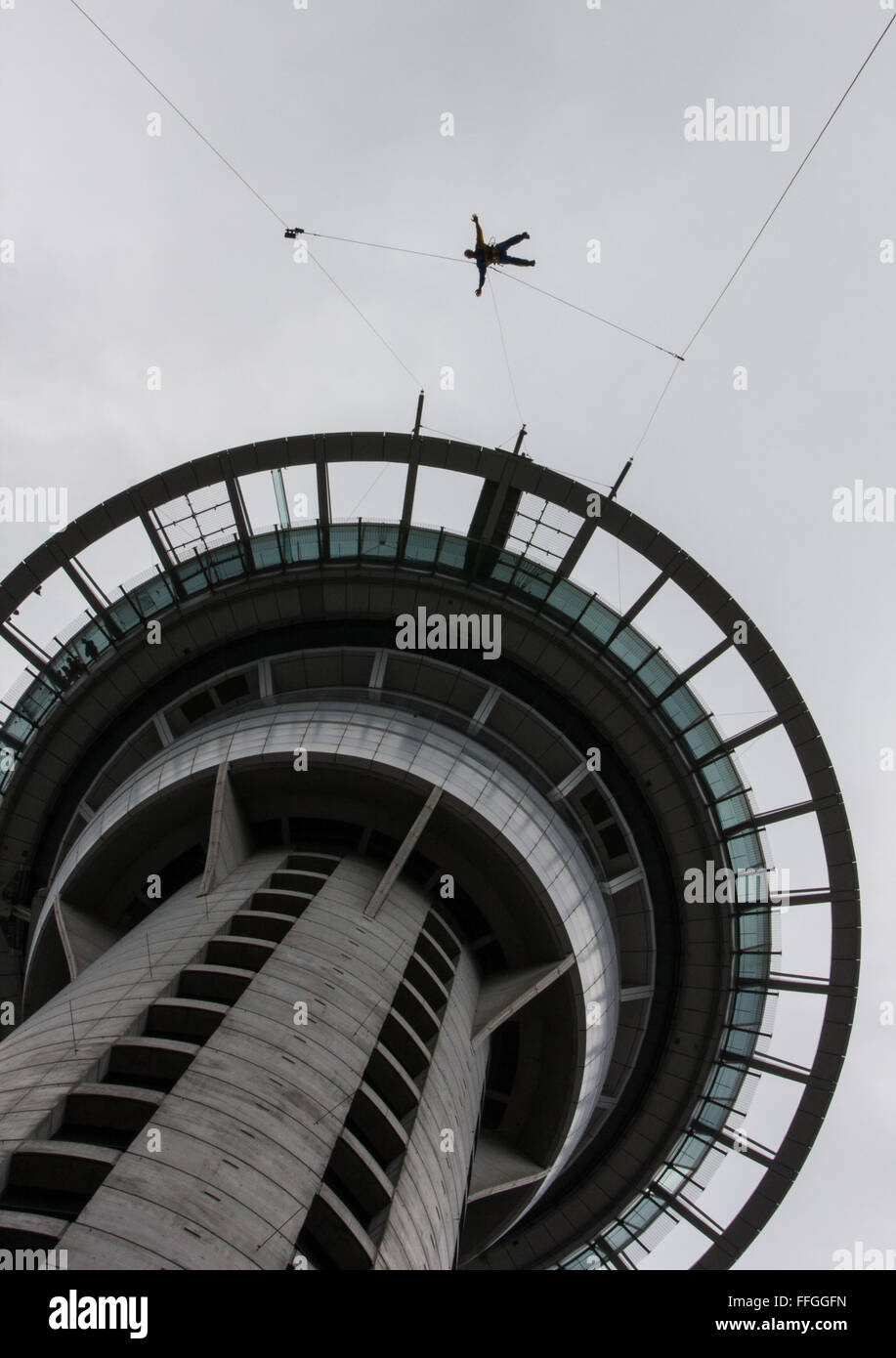 View of Sky Tower from directly underneath it. Auckland,New Zealand - Stock Image