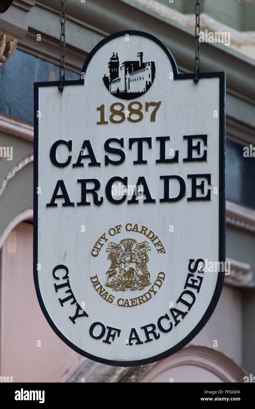 Castle Arcade shopping sign in Cardiff South Wales. - Stock Image