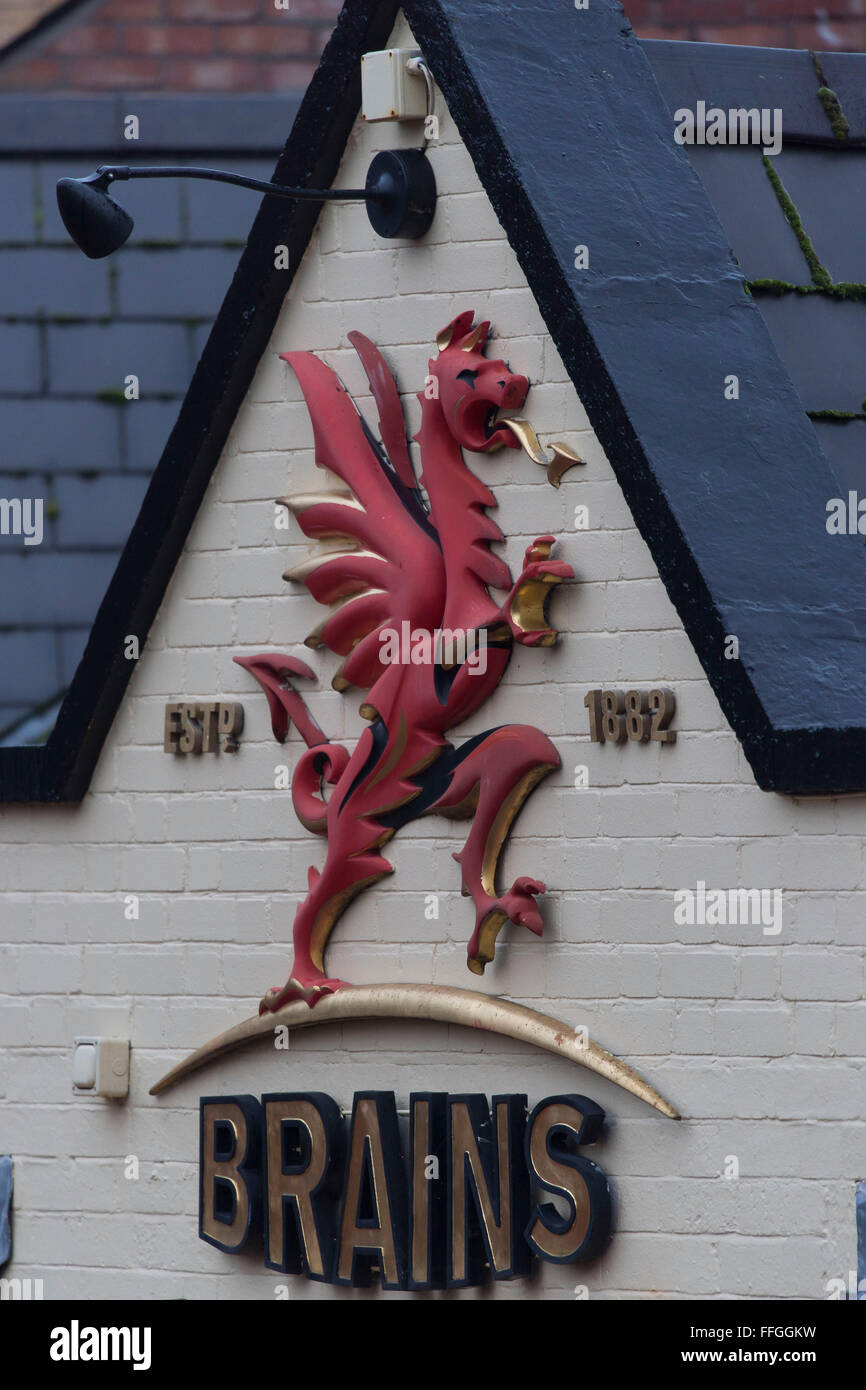 Brains brewery sign logo. - Stock Image