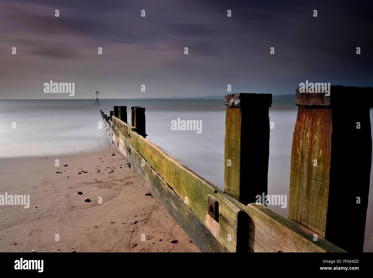 Exmouth Devon Beach - River Exe - UK - Stock Image