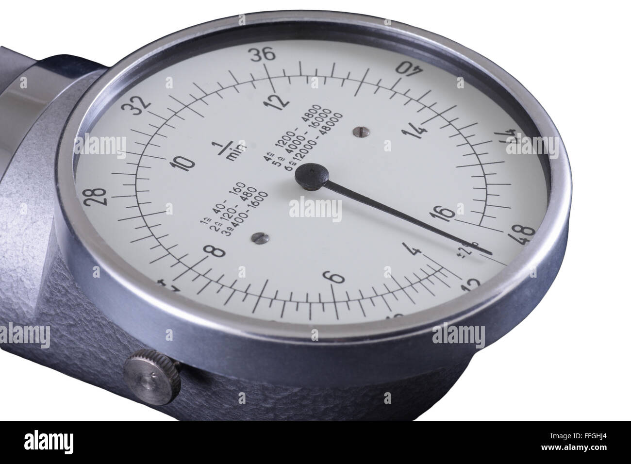Tachometer, old RPM counter showing zero, isolated in white - Stock Image