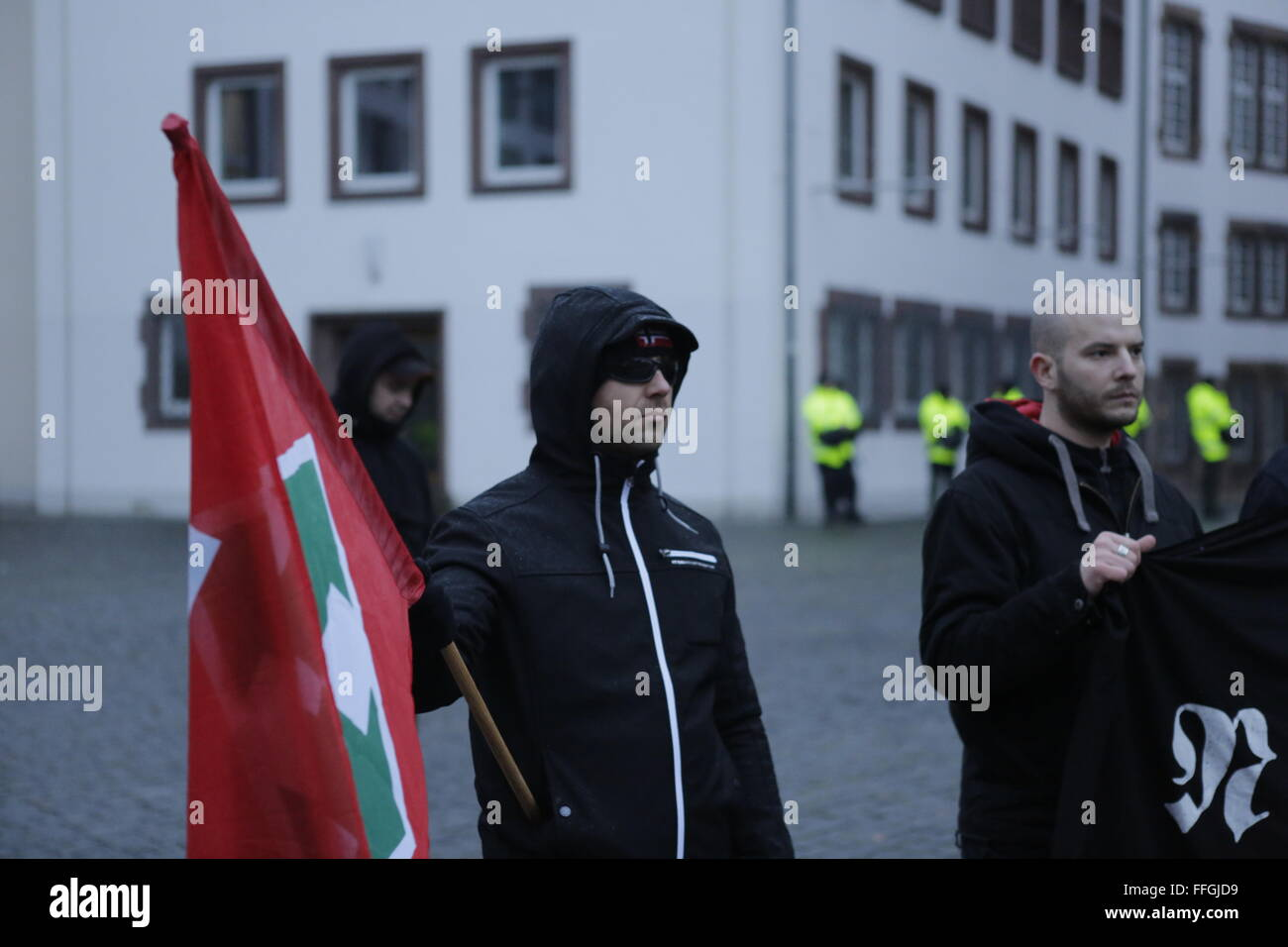 Worms, Germany. 13th Feb, 2016. The right wing protesters hold a small rally at the market square of Worms. A Hungarian Stock Photo