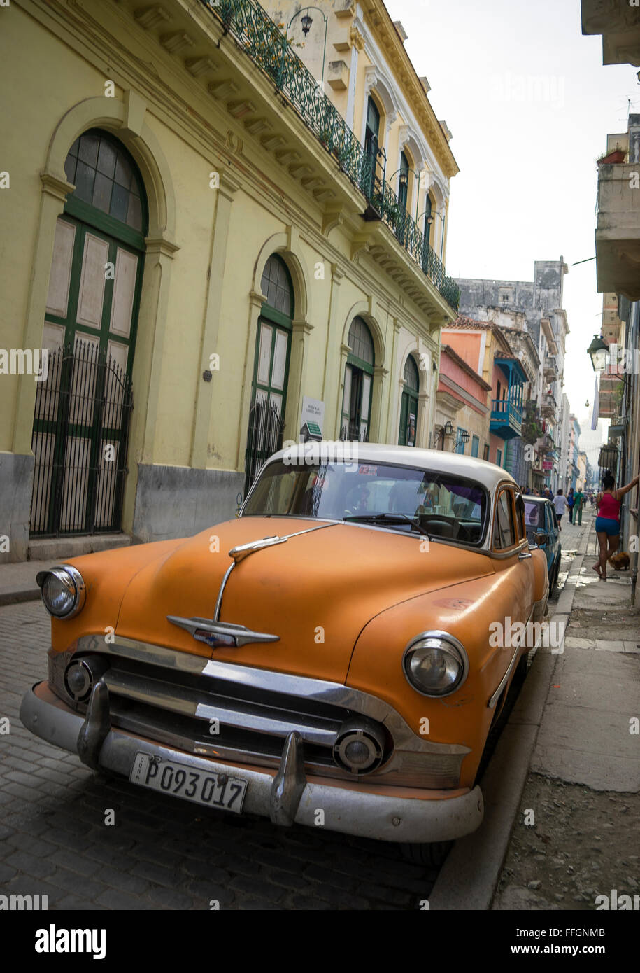 very old and classic cars on the street of old havana,cuba Stock ...
