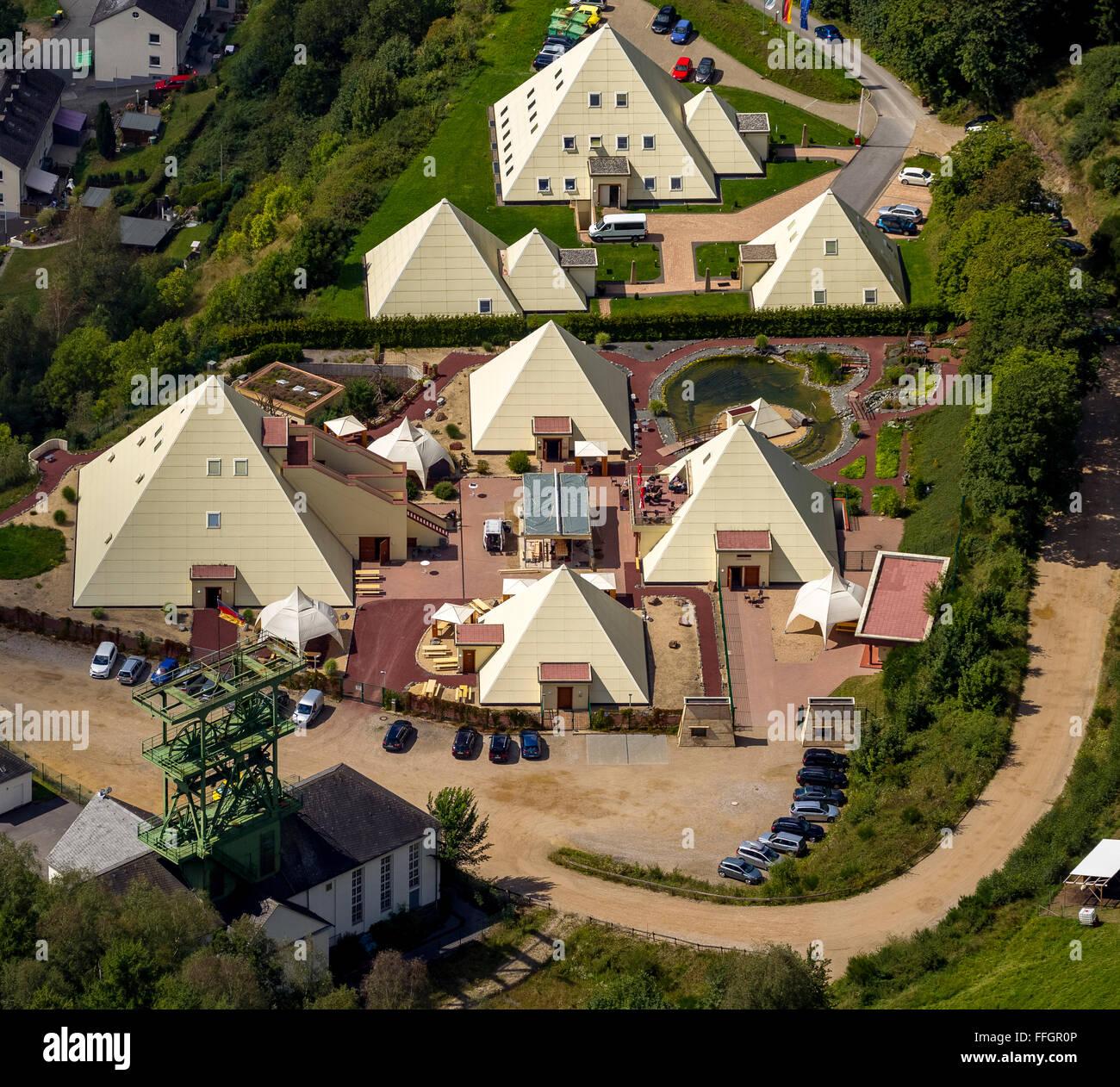 Aerial view, Galileo Park Sauerland pyramids, Lennestadt, Sauerland, North Rhine-Westphalia, Germany, Europe, Aerial - Stock Image
