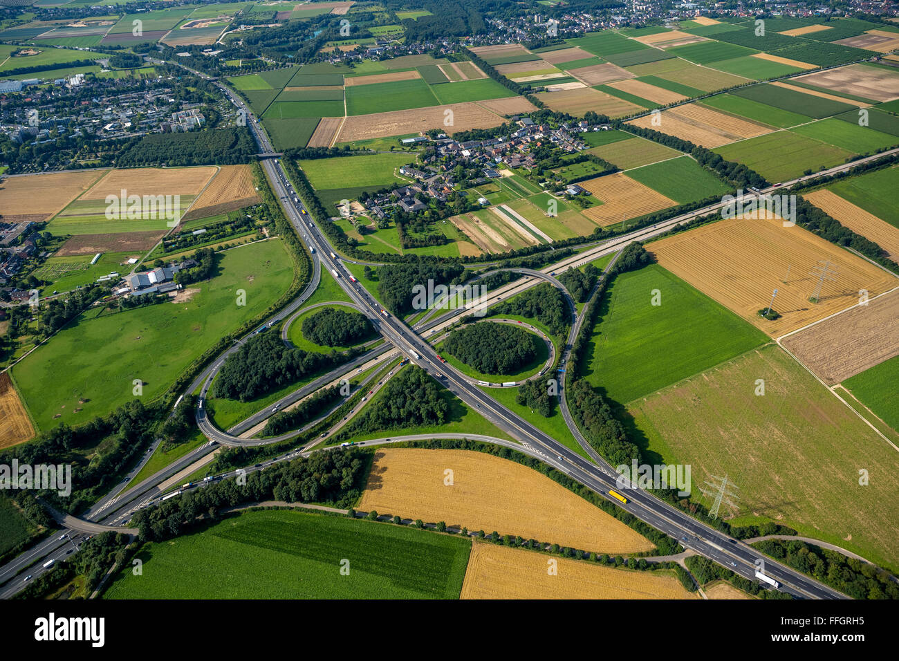 Aerial view, Mönchengladbach motorway junction, A61 and A52, cloverleaf, Road Traffic, Mönchengladbach, - Stock Image