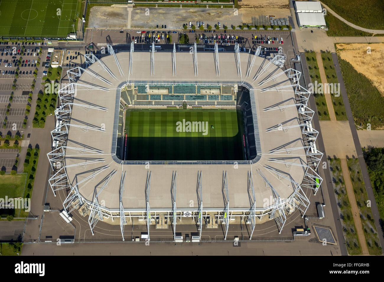 Aerial view, football stadium Mönchengladbach, BVB Moenchengladbach, Borussia Park, PREMIERE league stadium; - Stock Image