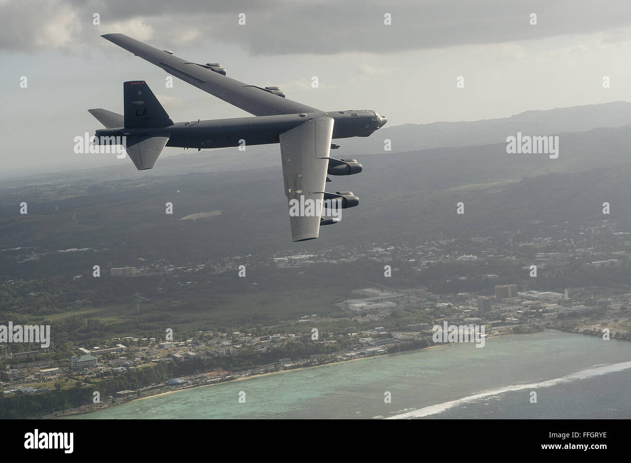 A B-52H Stratofortress flies during exercise Cope North 15, Feb. 17, 2015, off the coast of Guam. During the exercise, - Stock Image