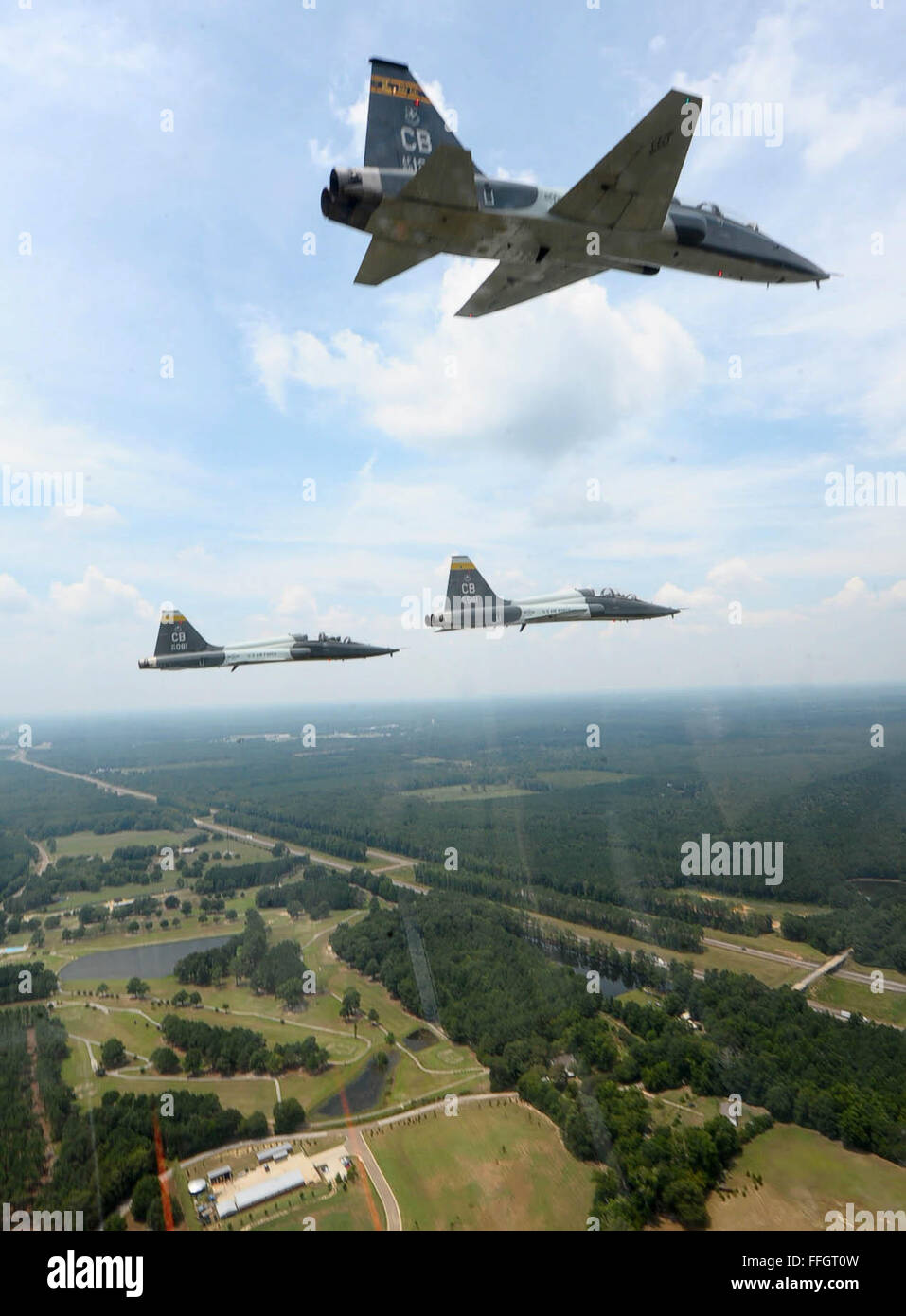 Four T-38 Talons prepare to begin the missing man formation in tribute to Capt. Fredrick Partridge Aug 10, 2015, - Stock Image
