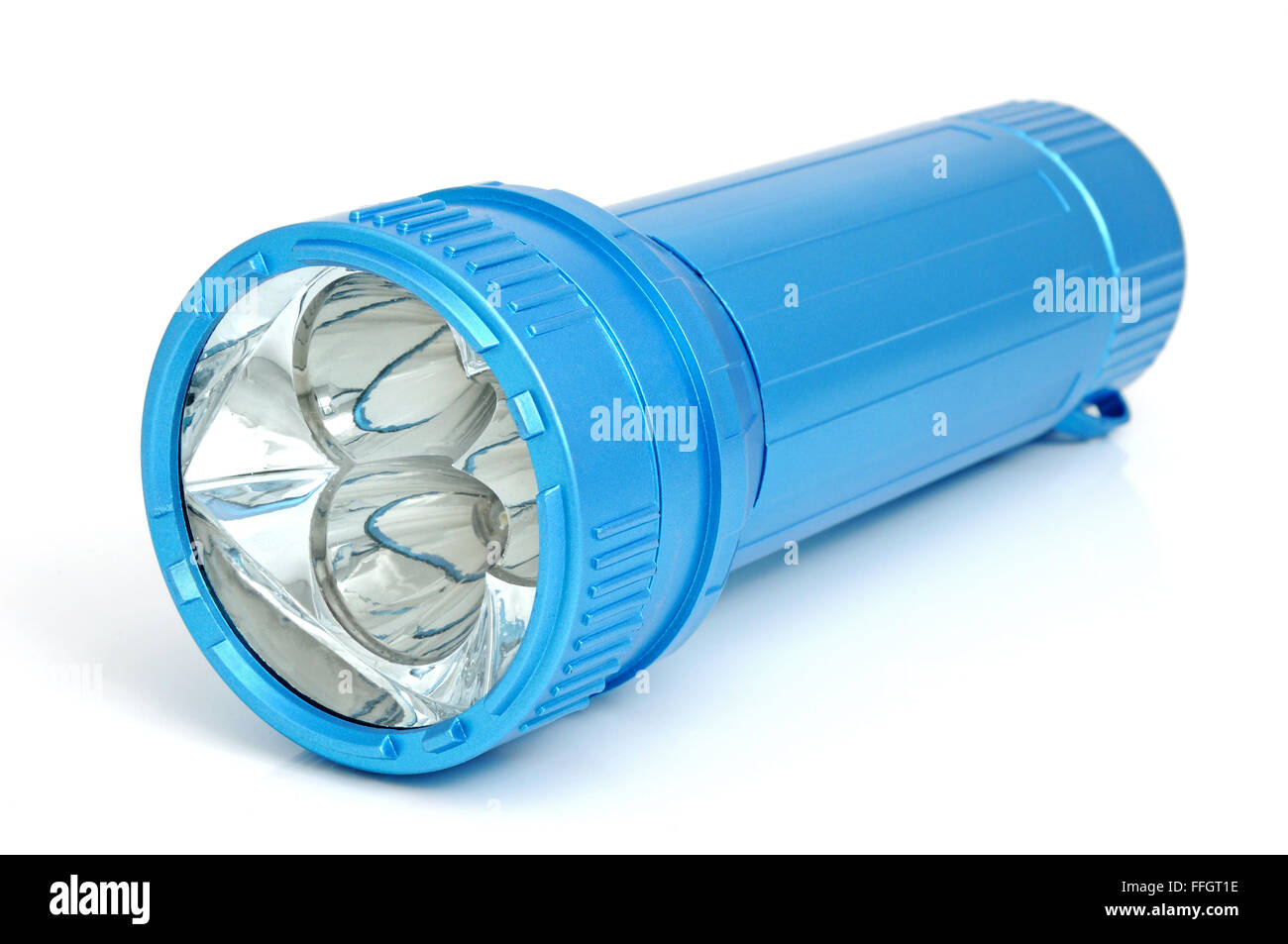 Electric LED torch isolated on a white background. - Stock Image