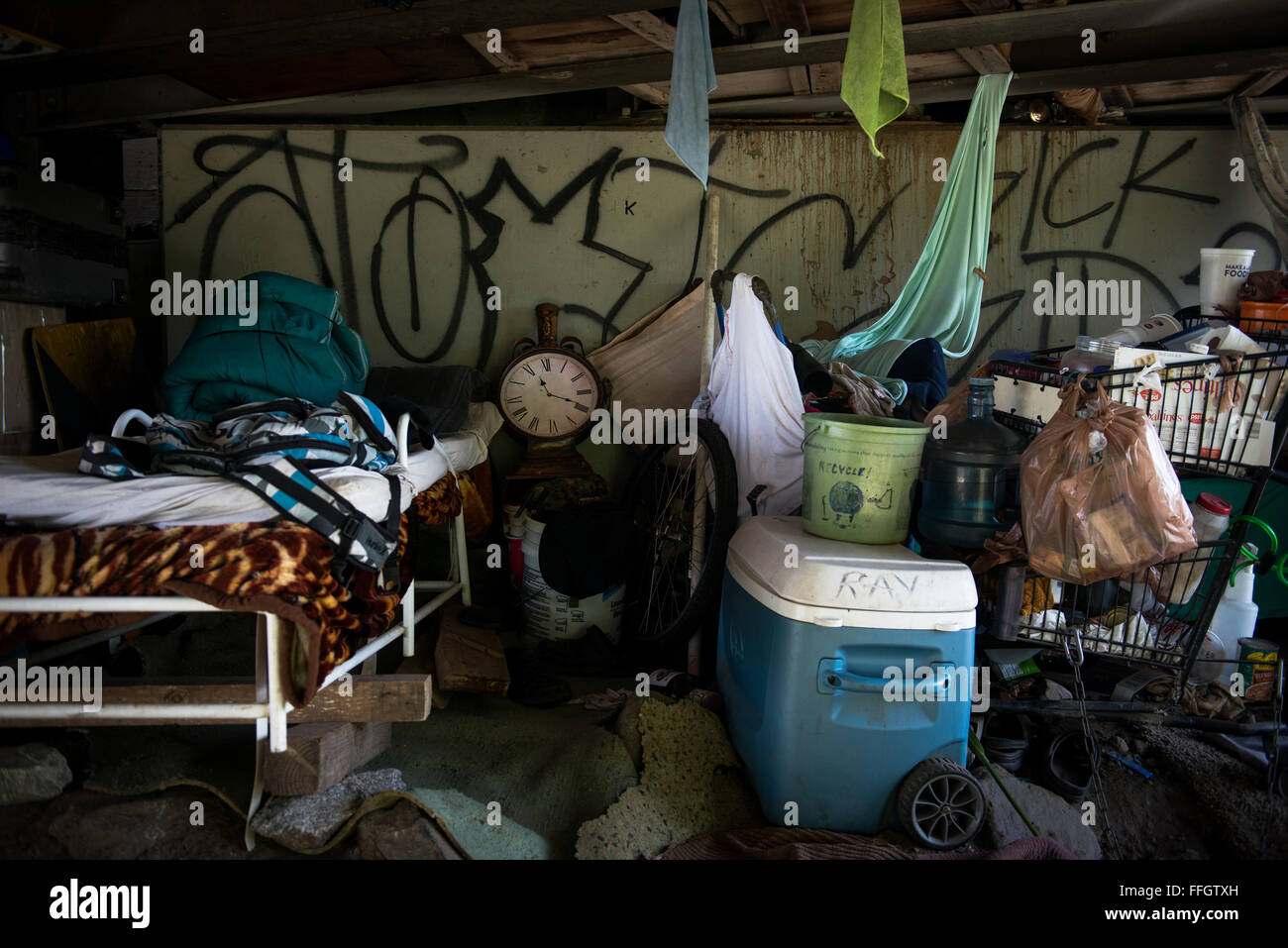 Johnny's home is located under a bridge in El Monte, California. Although Johnny 'The Mayor' is homeless, - Stock Image