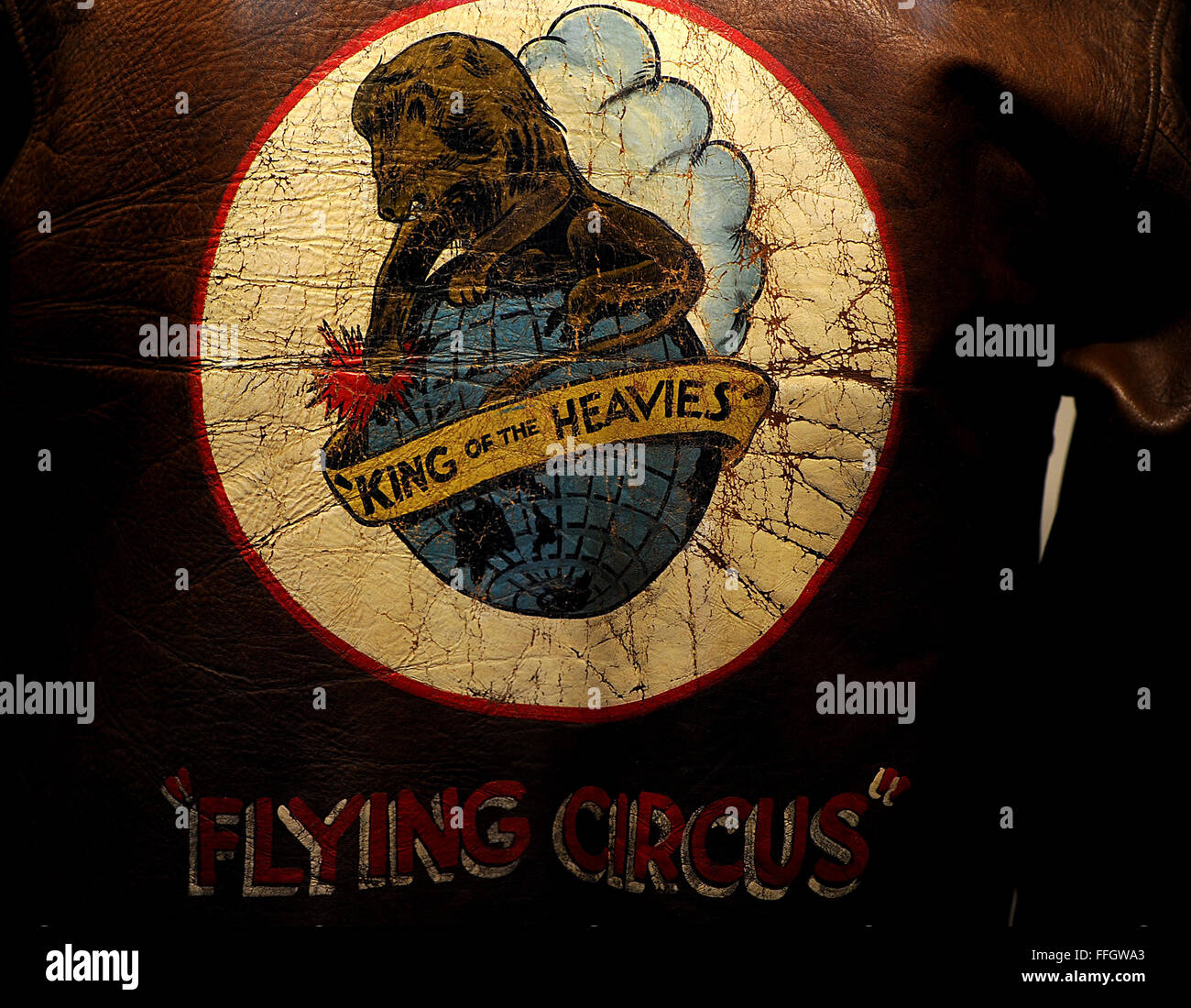 In 1944, the 380th Bomb Group adopted the name 'Flying Circus.' The donor of this bomber jacket, Max Markman, - Stock Image