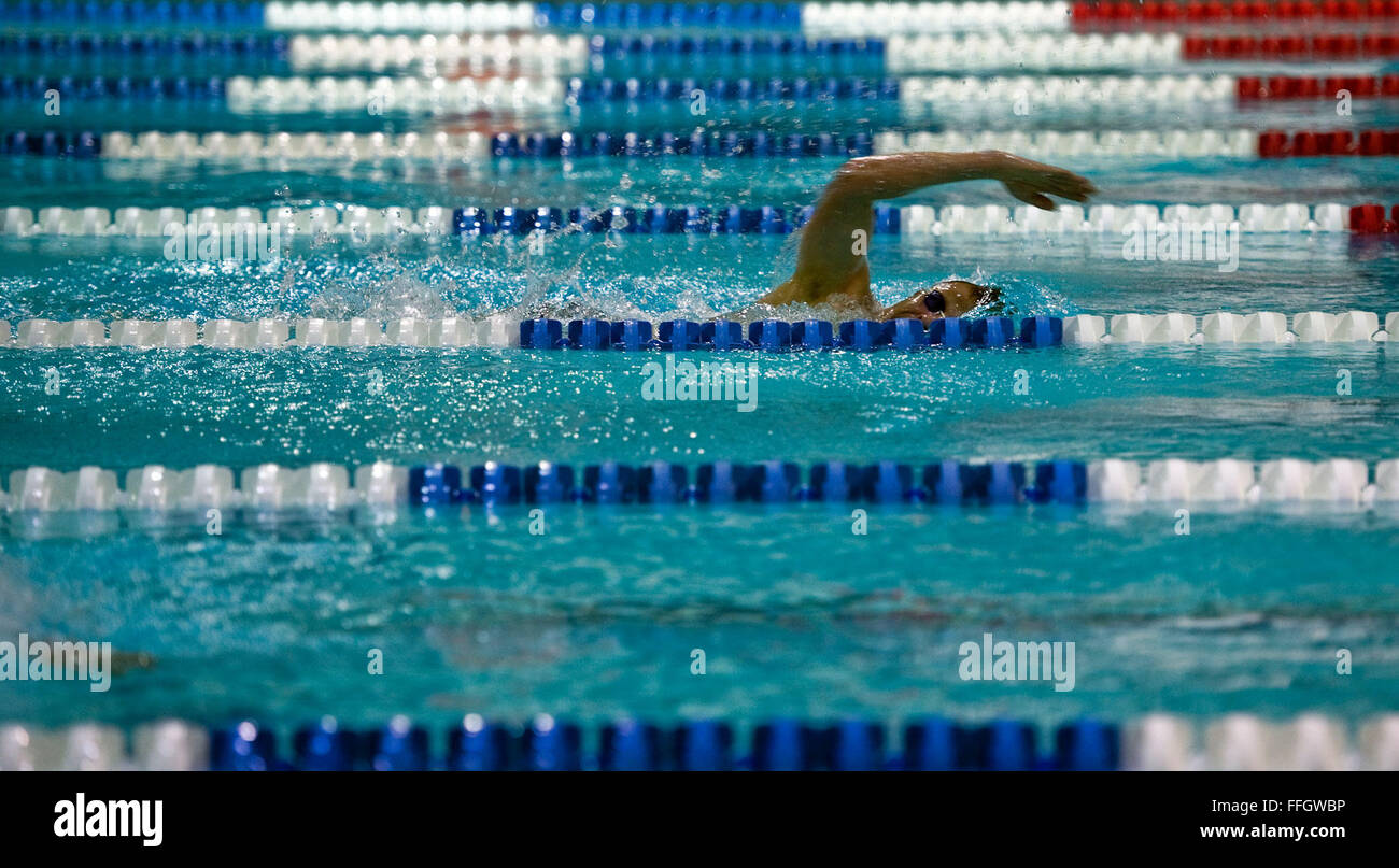 Major Eli Bremer, a reserve contracting officer and modern pentathlon pentathlete, works out in the Olympic Training - Stock Image