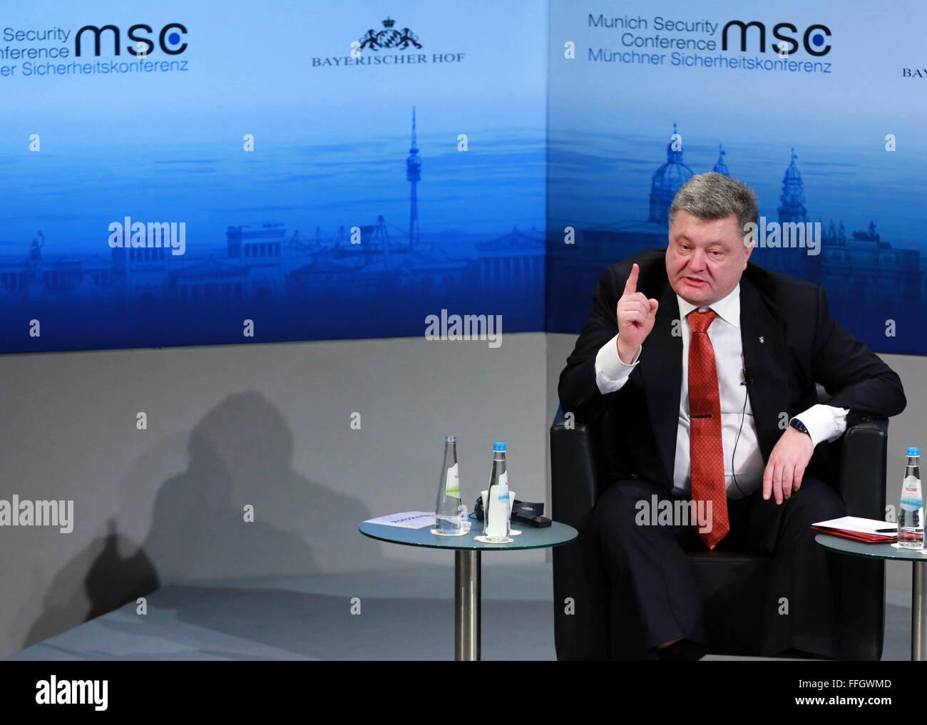 Munich, Germany. 13th Feb, 2016. Ukraine's President Petro Poroshenko attends the Munich Security Conference(MSC) - Stock Image
