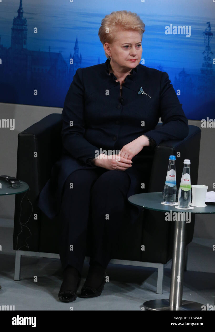 Munich, Germany. 13th Feb, 2016. Lithuanian President Dalia Grybauskaite attends the Munich Security Conference(MSC) - Stock Image