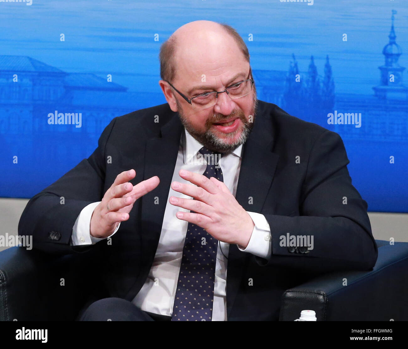 Munich, Germany. 13th Feb, 2016. European Parliament (EP) President Martin Schultz attends the Munich Security Conference(MSC) - Stock Image