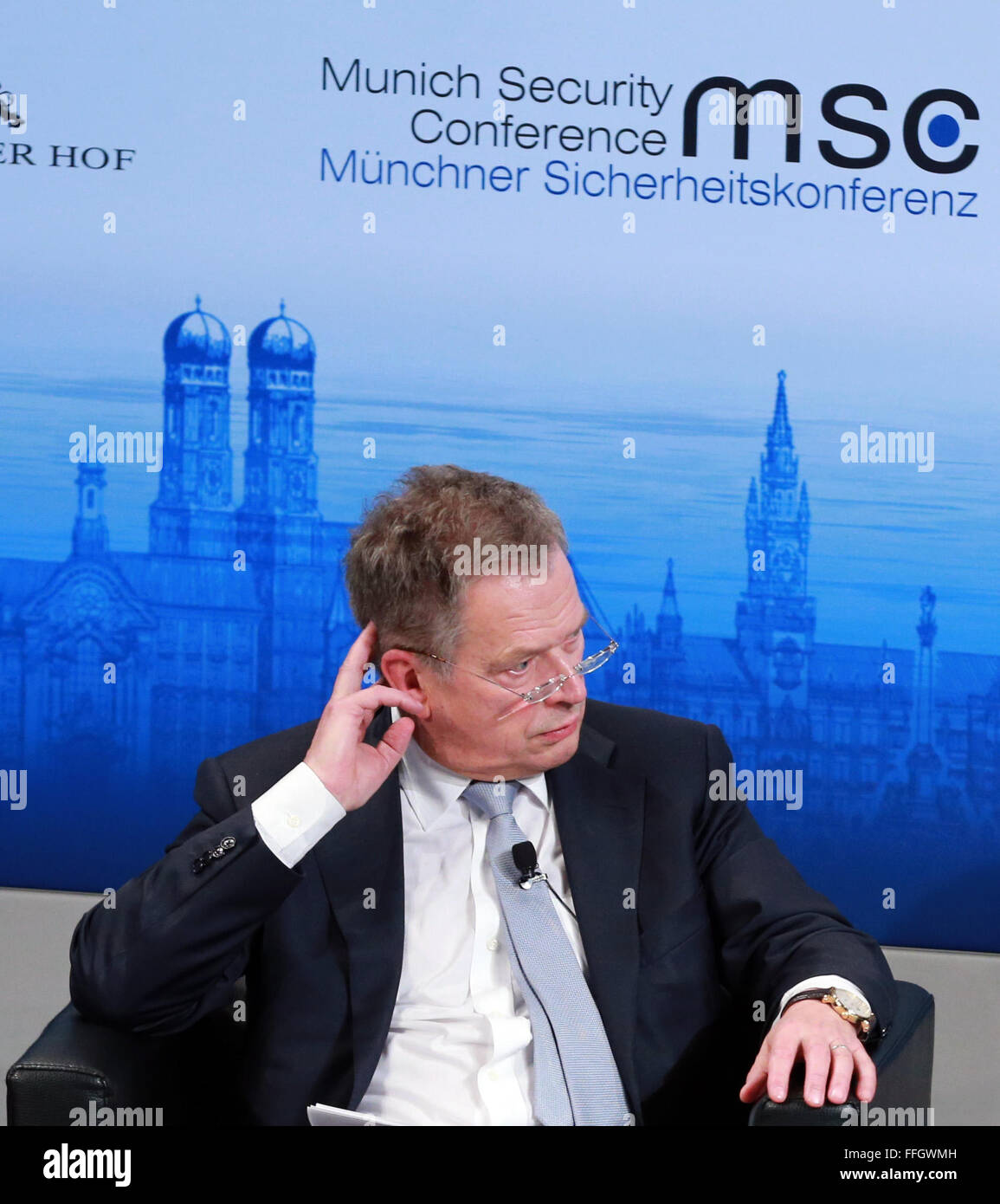Munich, Germany. 13th Feb, 2016. Finnish President Sauli Niinisto attends the Munich Security Conference(MSC) in - Stock Image