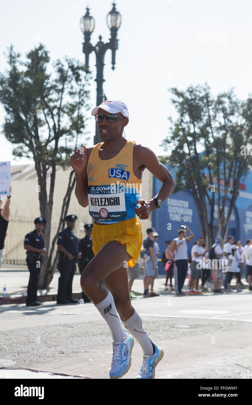 LA, California, USA. 13th Feb, 2016. Meb Keflezighi finished in 2nd place with a time of 2:12:21 Stock Photo