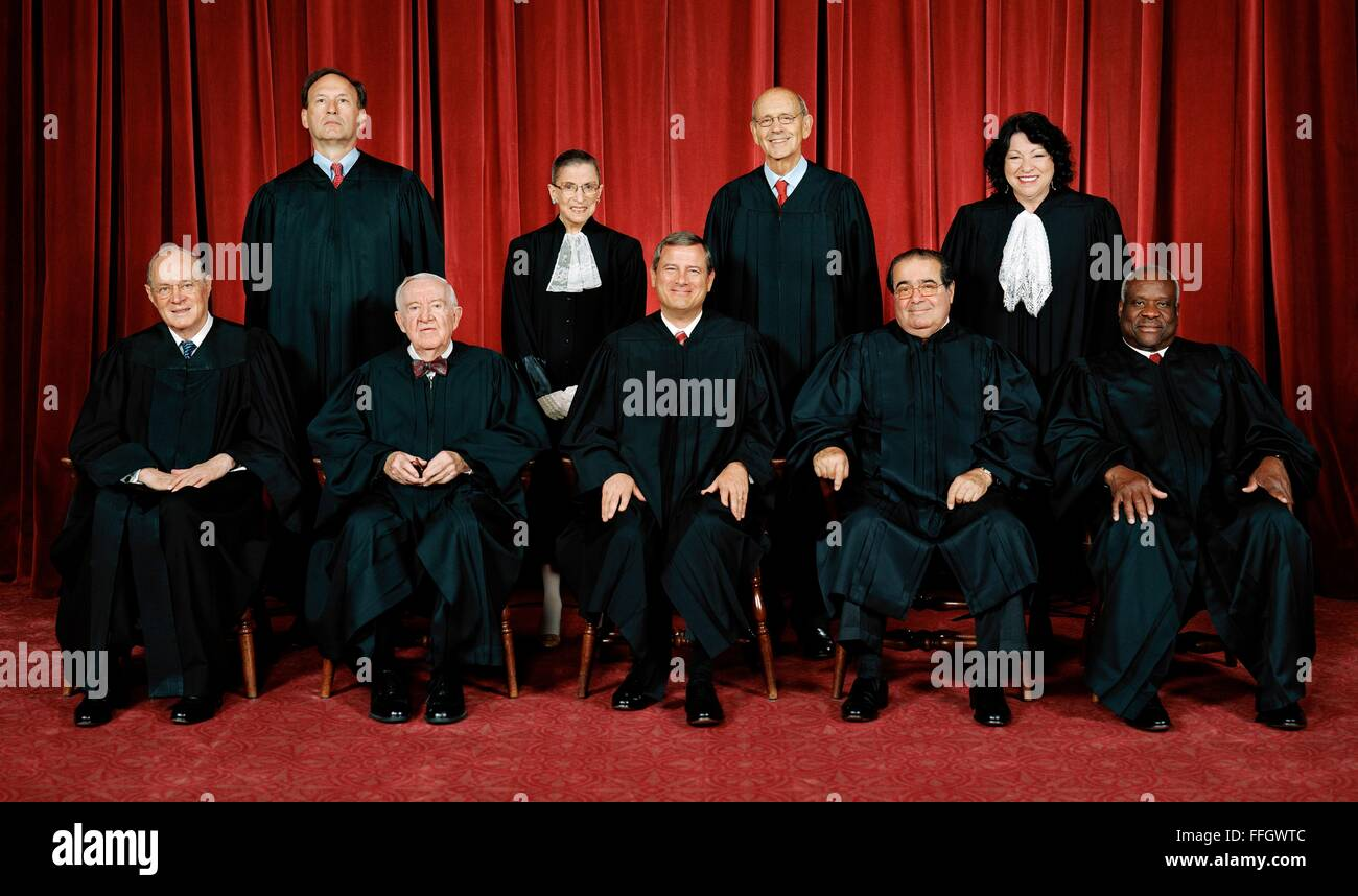 U.S. Supreme Court justices official portrait for the 2009 Roberts court.  Antonin Scalia official portrait. Top - Stock Image