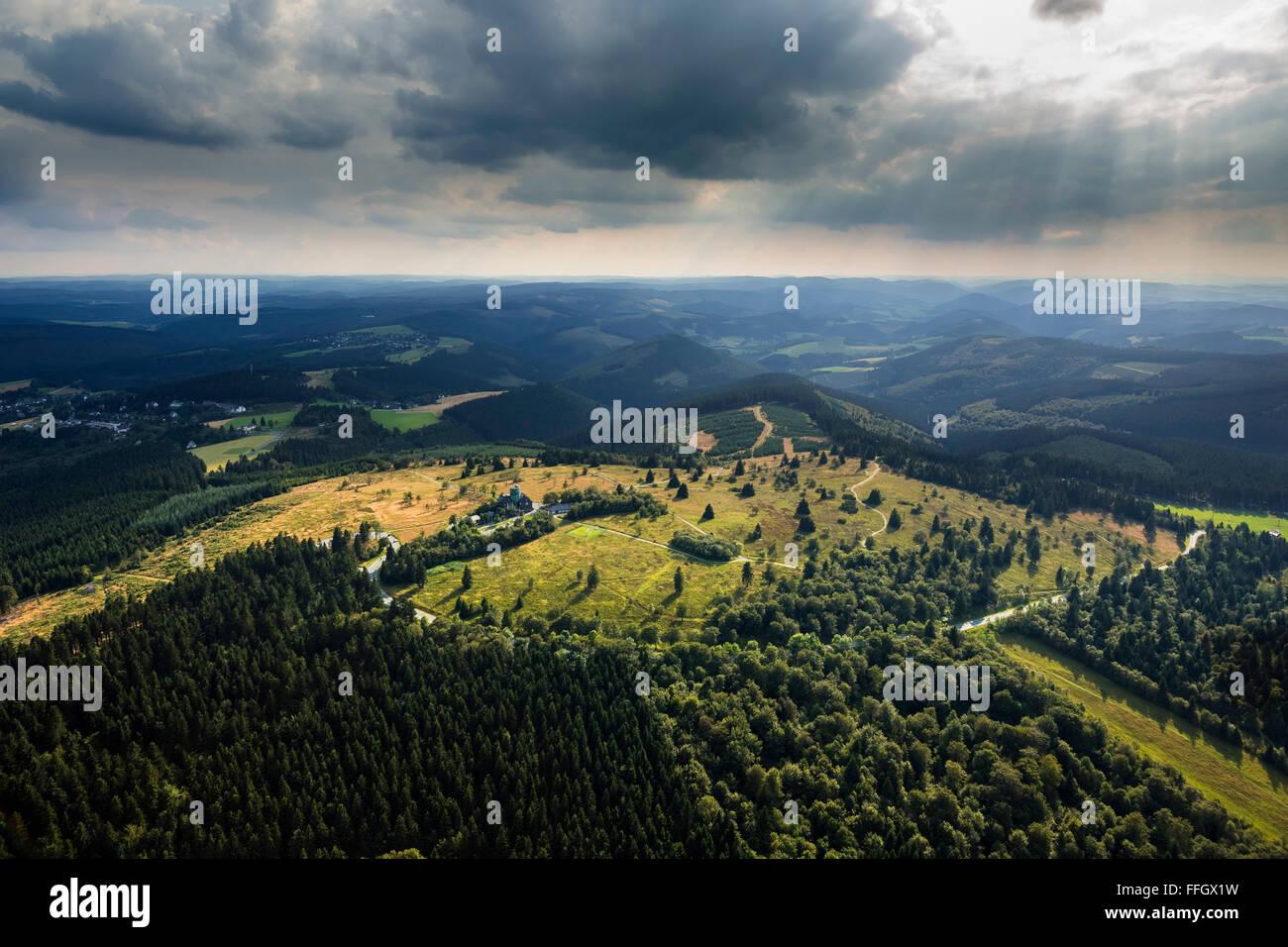 Aerial view, Kahler Asten low cloud cover, heathland, nature reserve, Astenturm, weather station Asten, Winterberg, - Stock Image