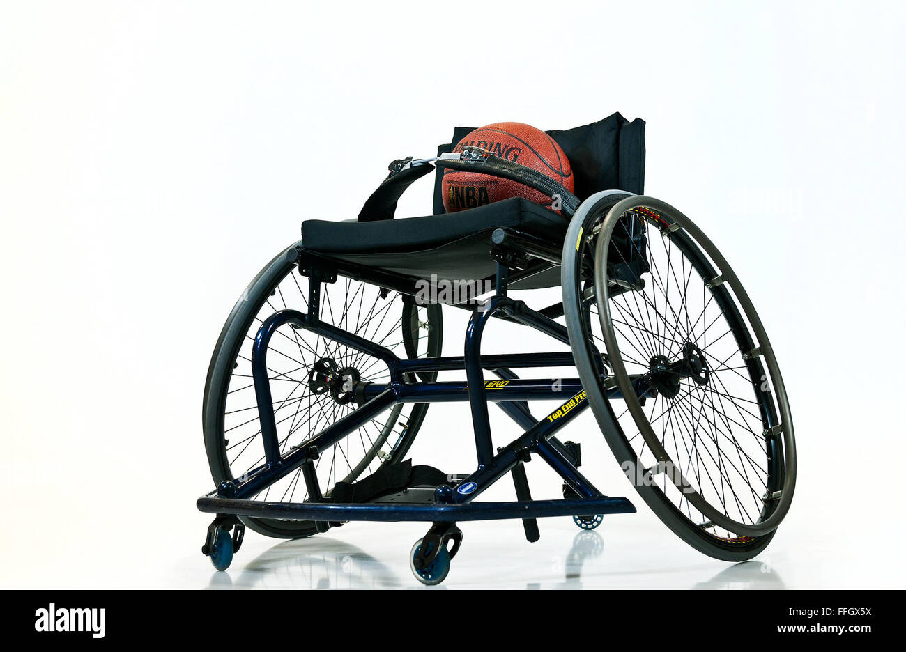 The wheelchair basketball tournament consists of five 10-player teams representing the Army, Marine Corps, Navy - Stock Image