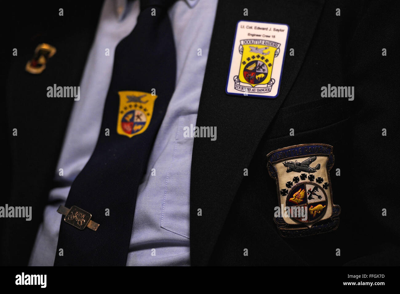 The Doolittle Tokyo Raiders patch, worn by retired Lt. Col. Edward J. Saylor, represents the bomber groups that - Stock Image