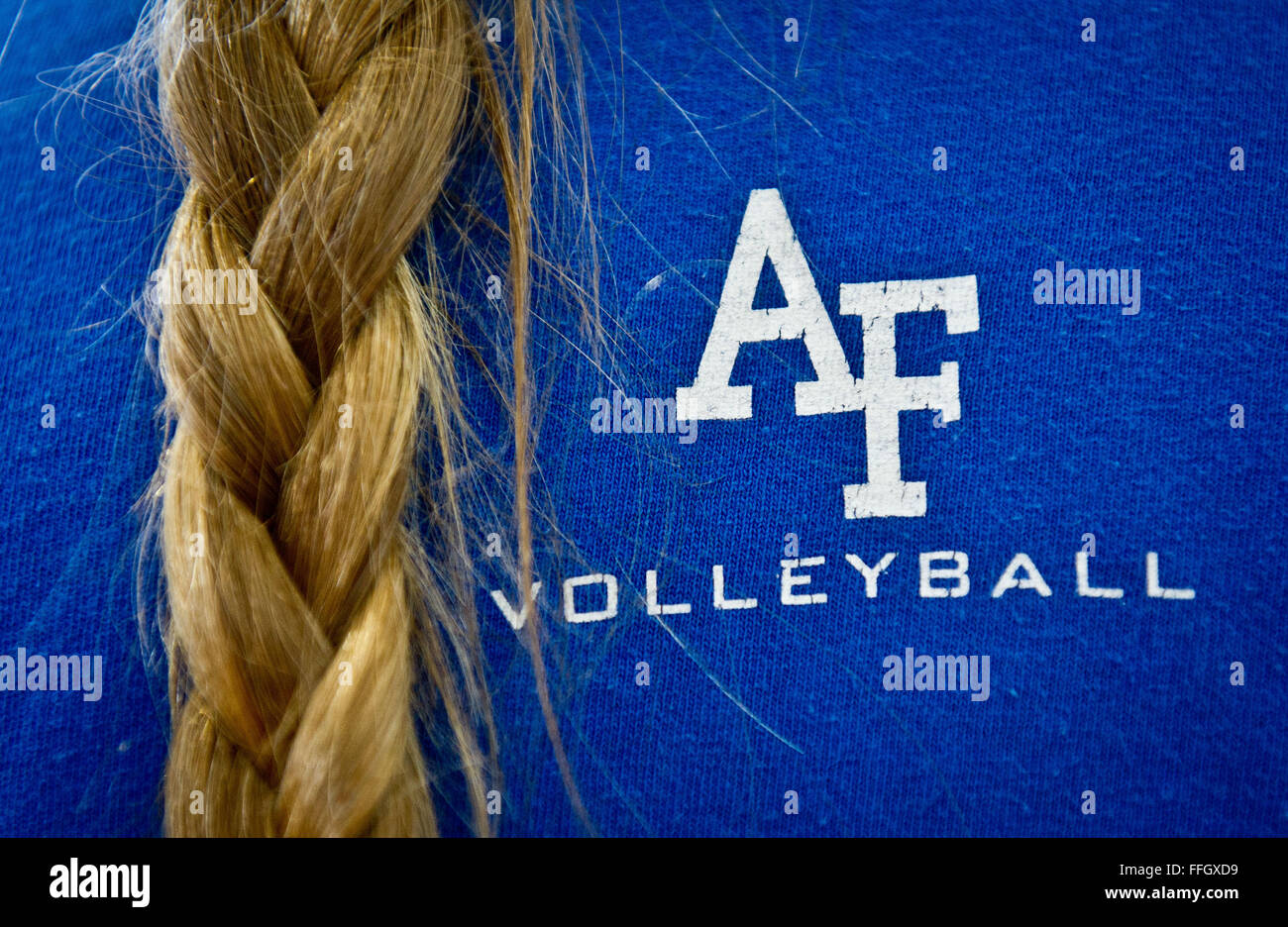 Sixteen women tried out for the Air Force Women's Volleyball team, and the 11 best were selected to compete in the - Stock Image