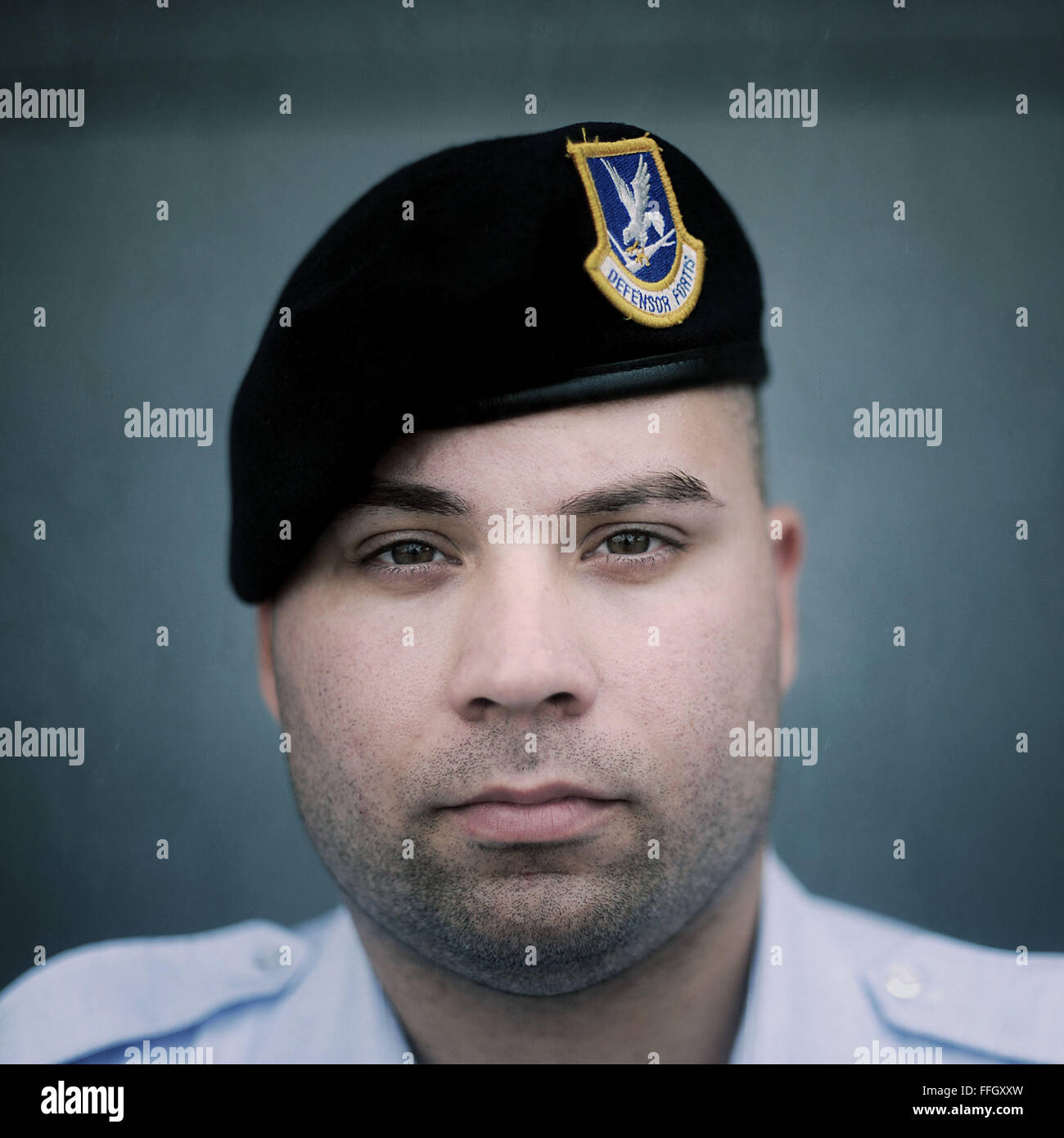 Name: Senior Airman Isaac Ramos Where they are from: 514th Security Forces Reason for visiting: Military Working - Stock Image