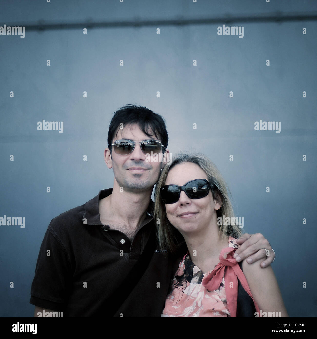 Name: Dan Polluck and Grace Polluck Where they are from: London Reason for visiting: Visiting the Intrepid - Stock Image