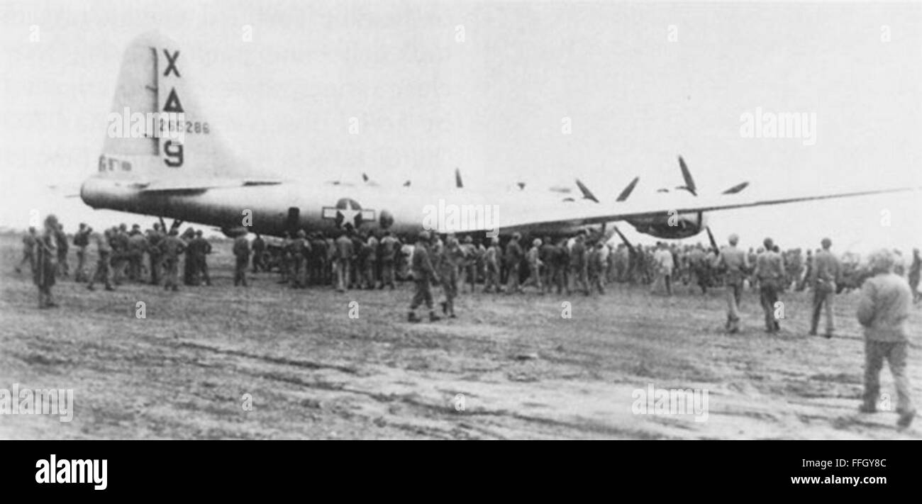 'Dinah Might,' the first crippled B-29 Superfortress to make an emergency landing on Iwo Jima during World - Stock Image
