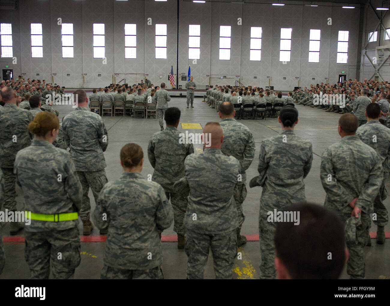 Chief Master Sgt. of the Air Force James A. Roy addresses Airmen during his visit to Joint Base Elmendorf-Richardson, - Stock Image