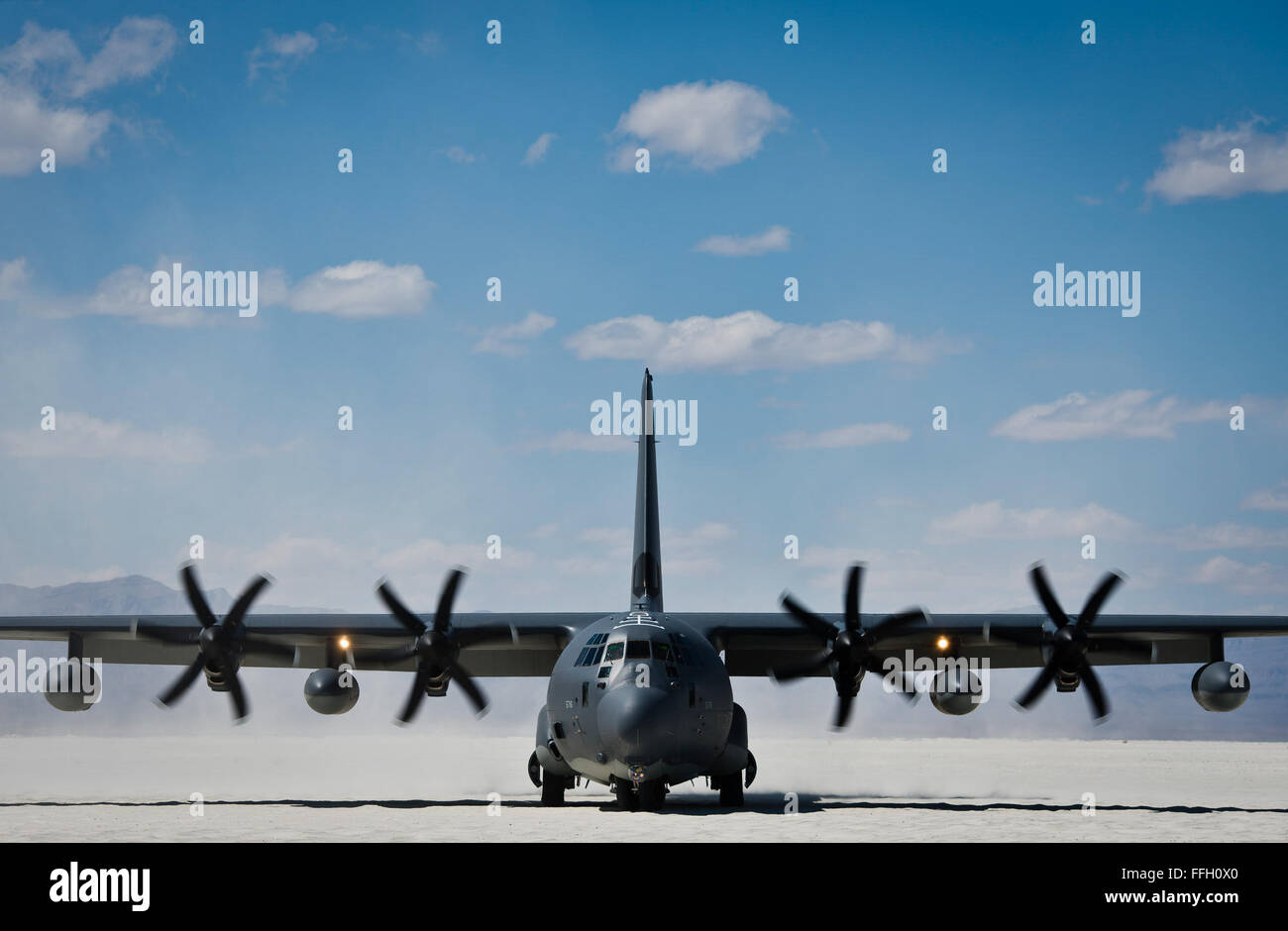 An HC-130 with the 79th Rescue Squadron at Davis-Monthan Air Force Base, Ariz., lands at the White Sands Missile - Stock Image