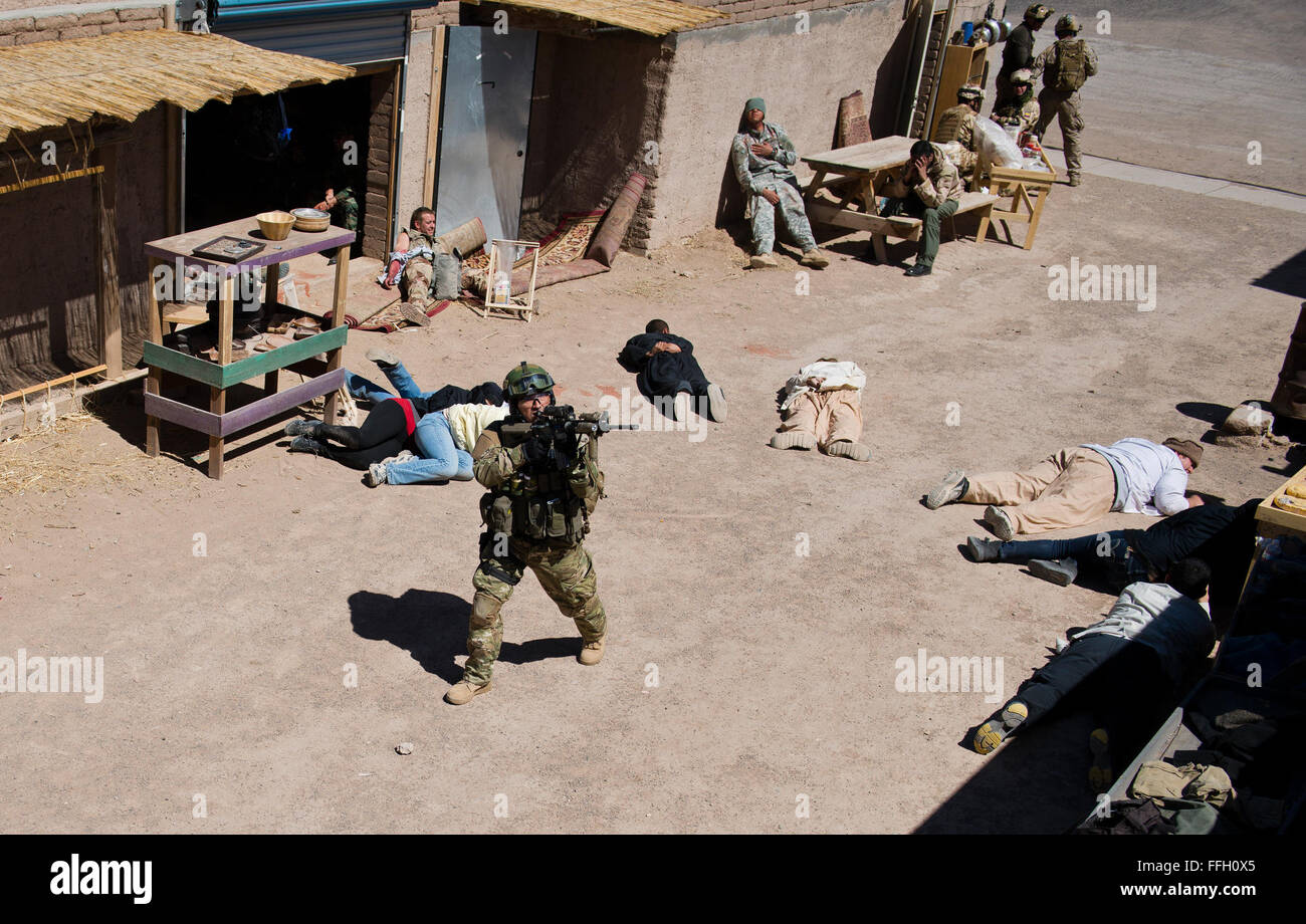 After reaching the site of the explosion and injured role players in a mass casualty extraction exercise, a Chilean - Stock Image