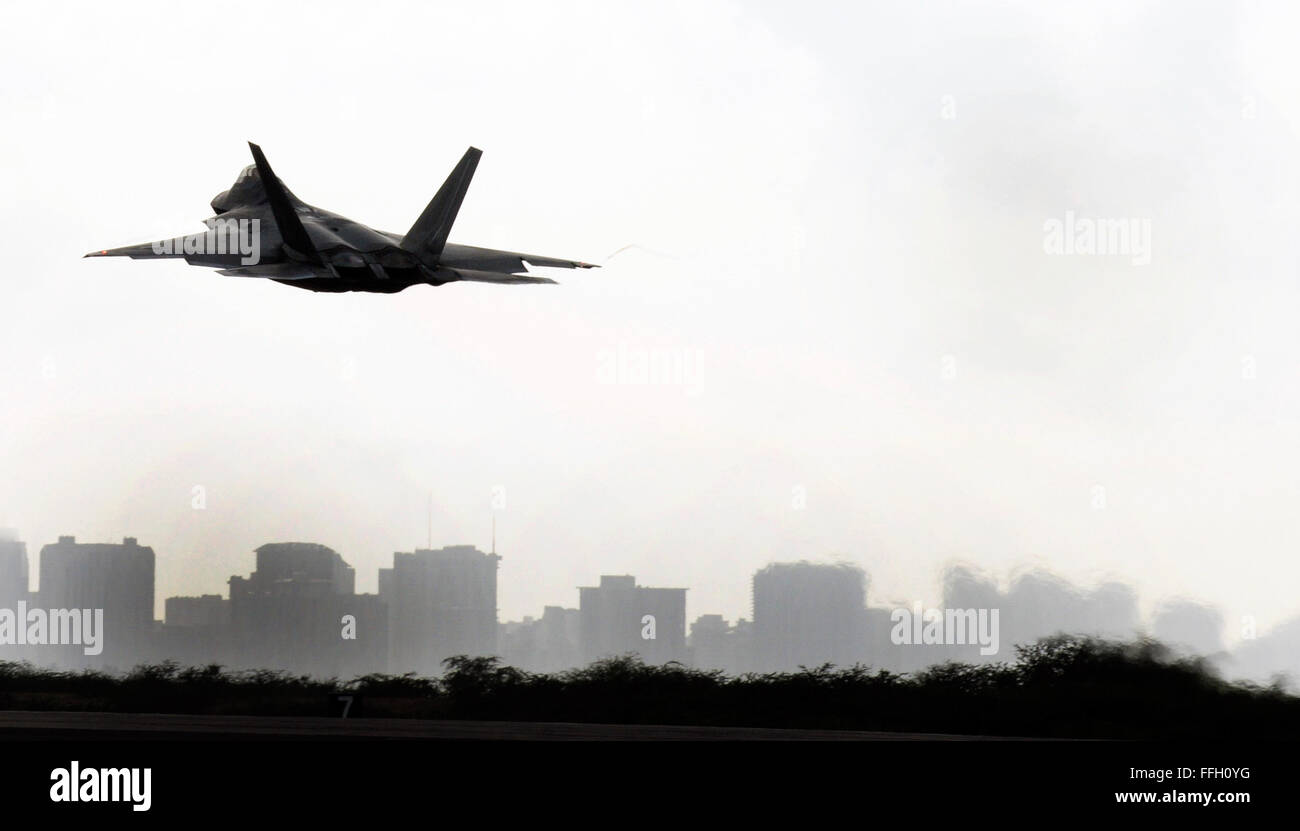 F-22s flown by the Hawaii Air National Guard's 199th Fighter Squadron and the active-duty Air Force's 19th - Stock Image