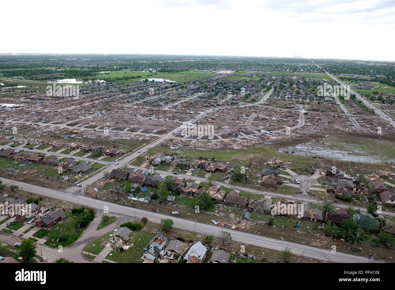 Flyover of tornado damage from the May 20 tornado in Moore, Okla. - Stock Image
