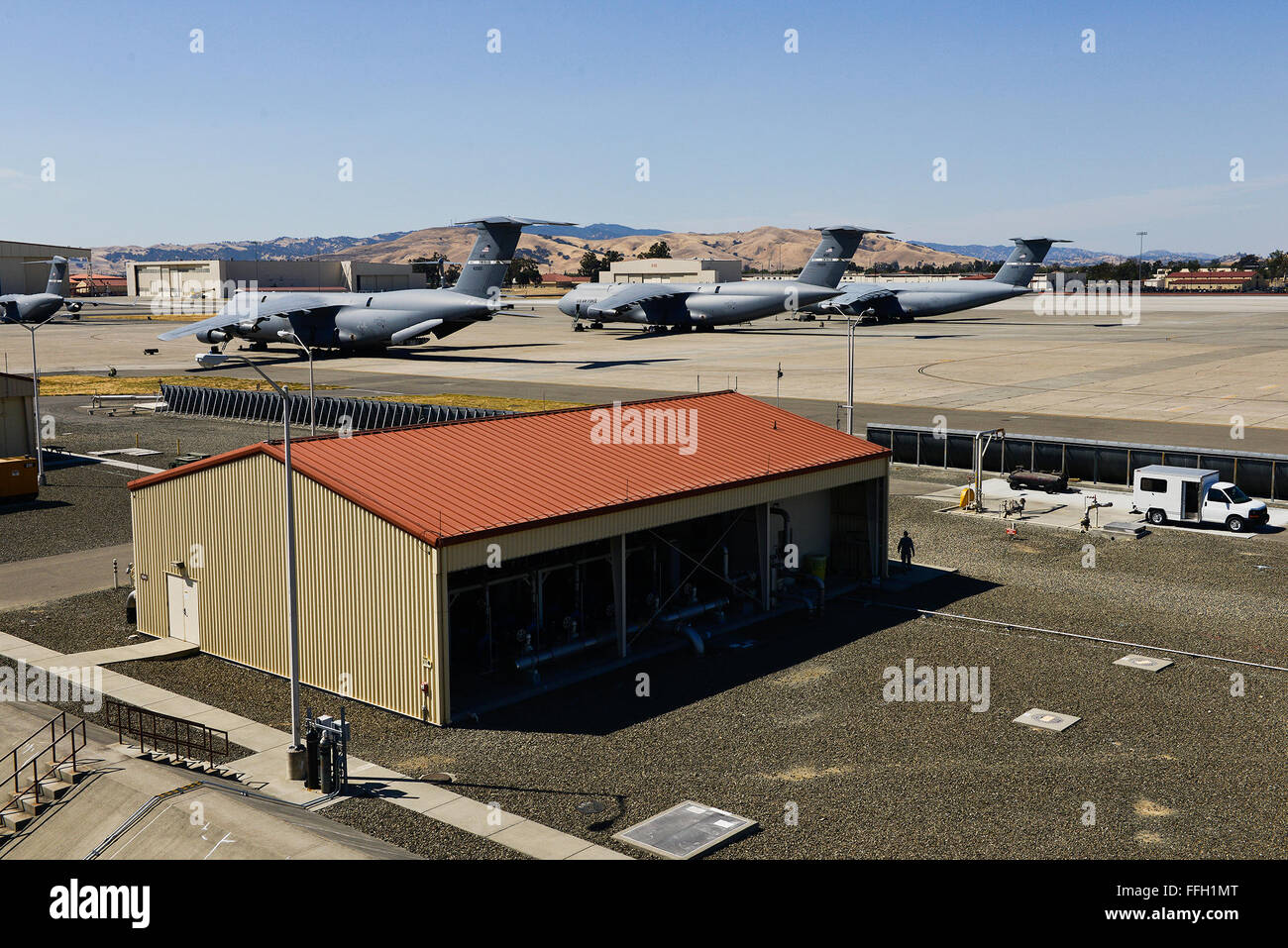 A fixed fuel facility off the flightline of Travis Air Force Base, Cali. These facilities are responsible for the - Stock Image