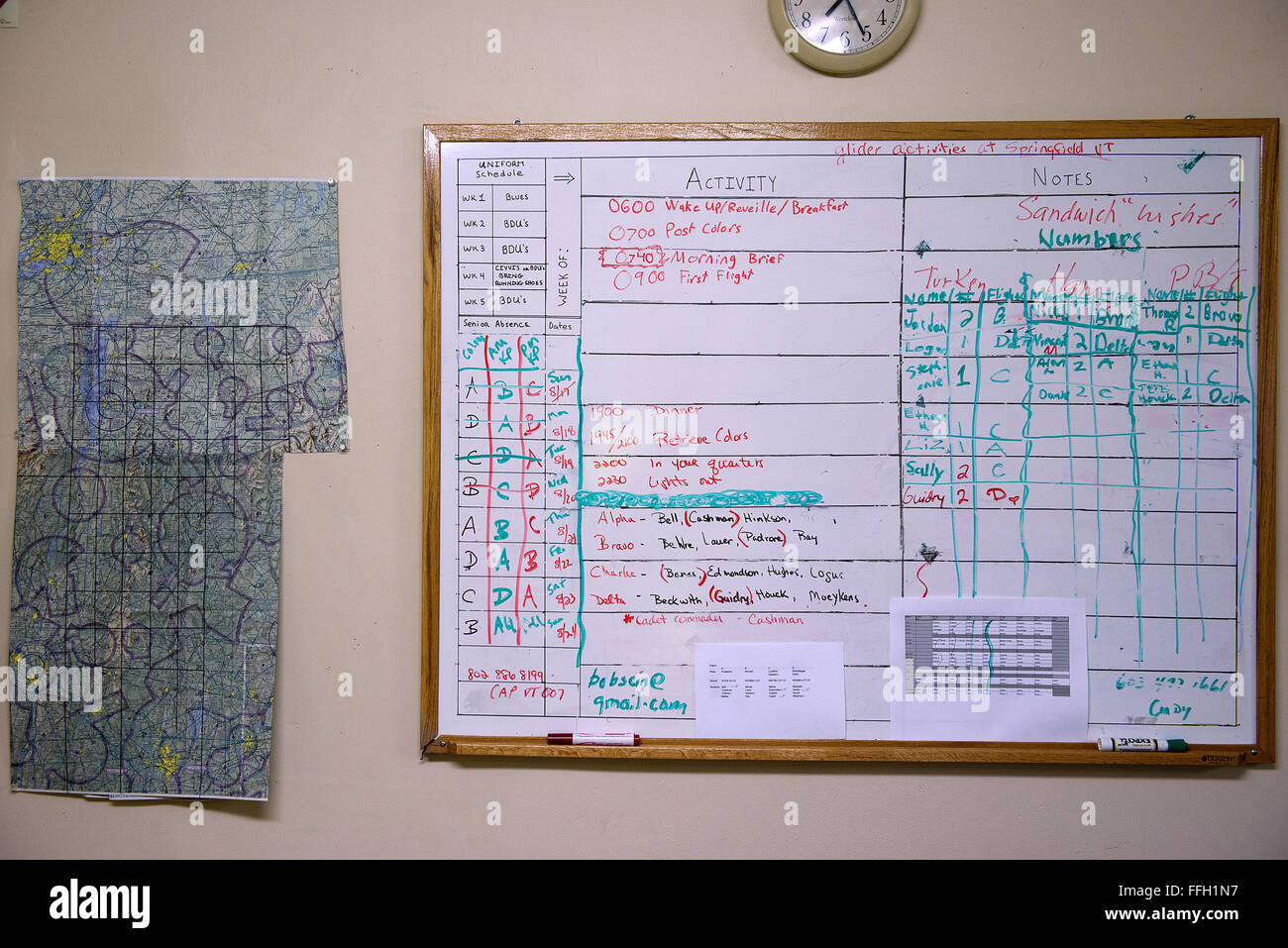 students use a dry erase board to track their daily schedule at the northeast region glider academy the academy is run out of the civil air patrols