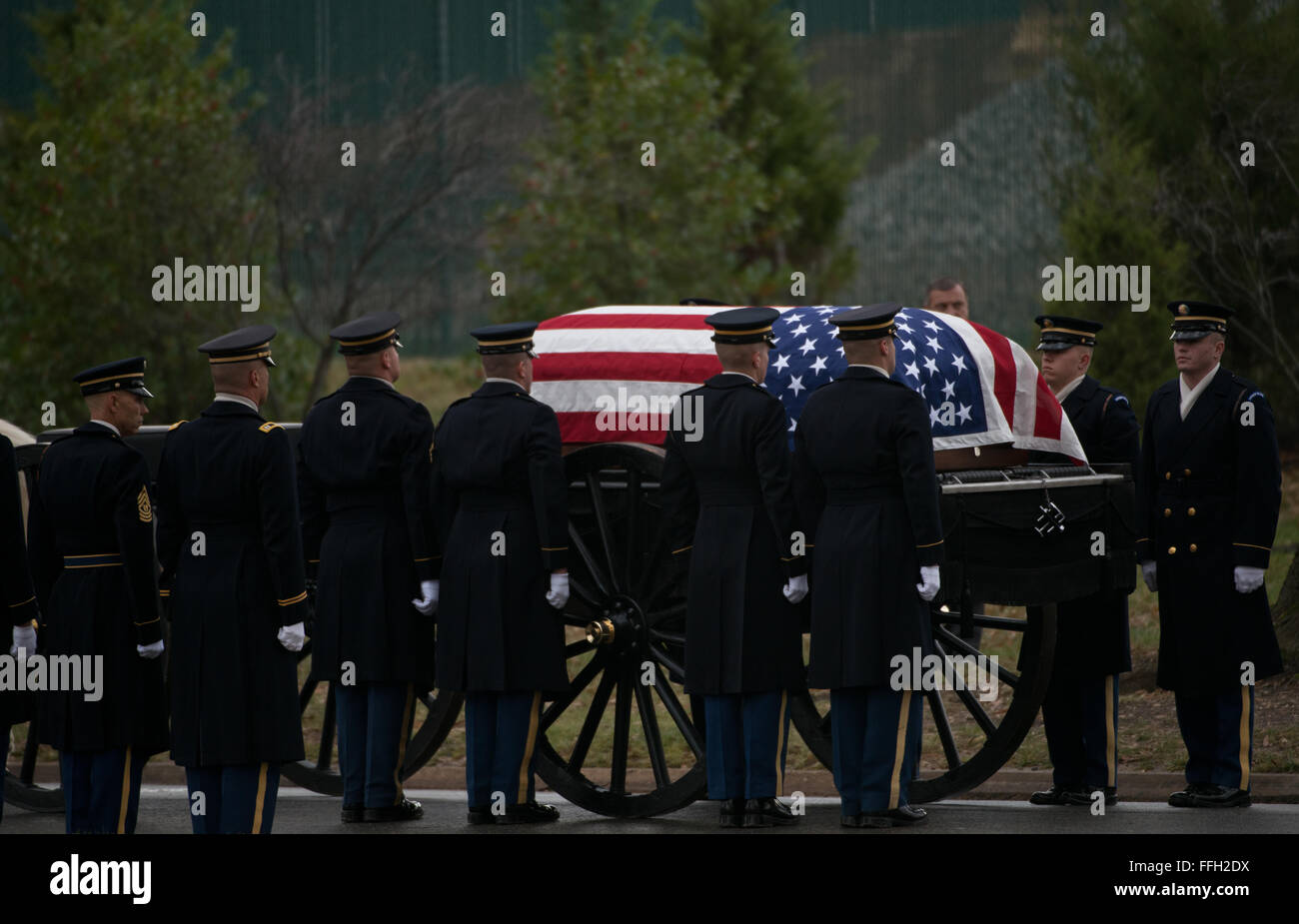 Members of the Army's 3rd Infantry Regiment's Caisson Platoon align to carry the remains of Army Air Forces - Stock Image
