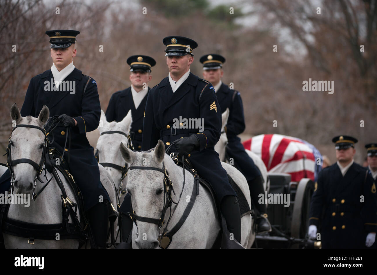 Members of the Army's 3rd Infantry Regiment's Caisson Platoon carry the remains of Army Air Forces Sgt. Charles Stock Photo