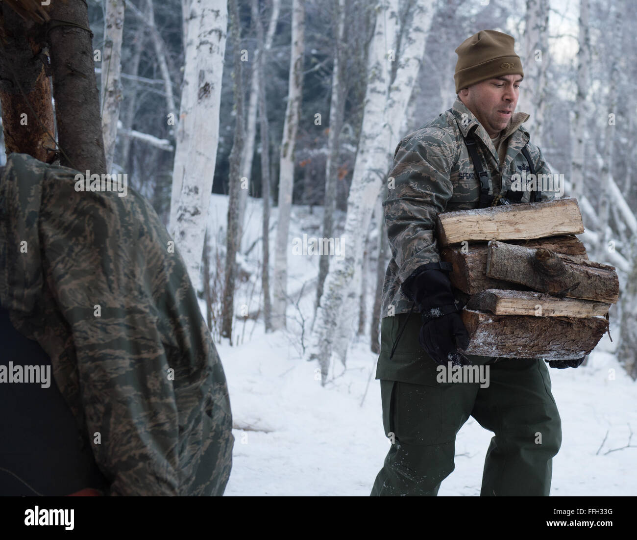 Capt. Bart Spendley, 274th Air Support Operation Squadron, air liaison officer, carries split wood to feed a fire - Stock Image