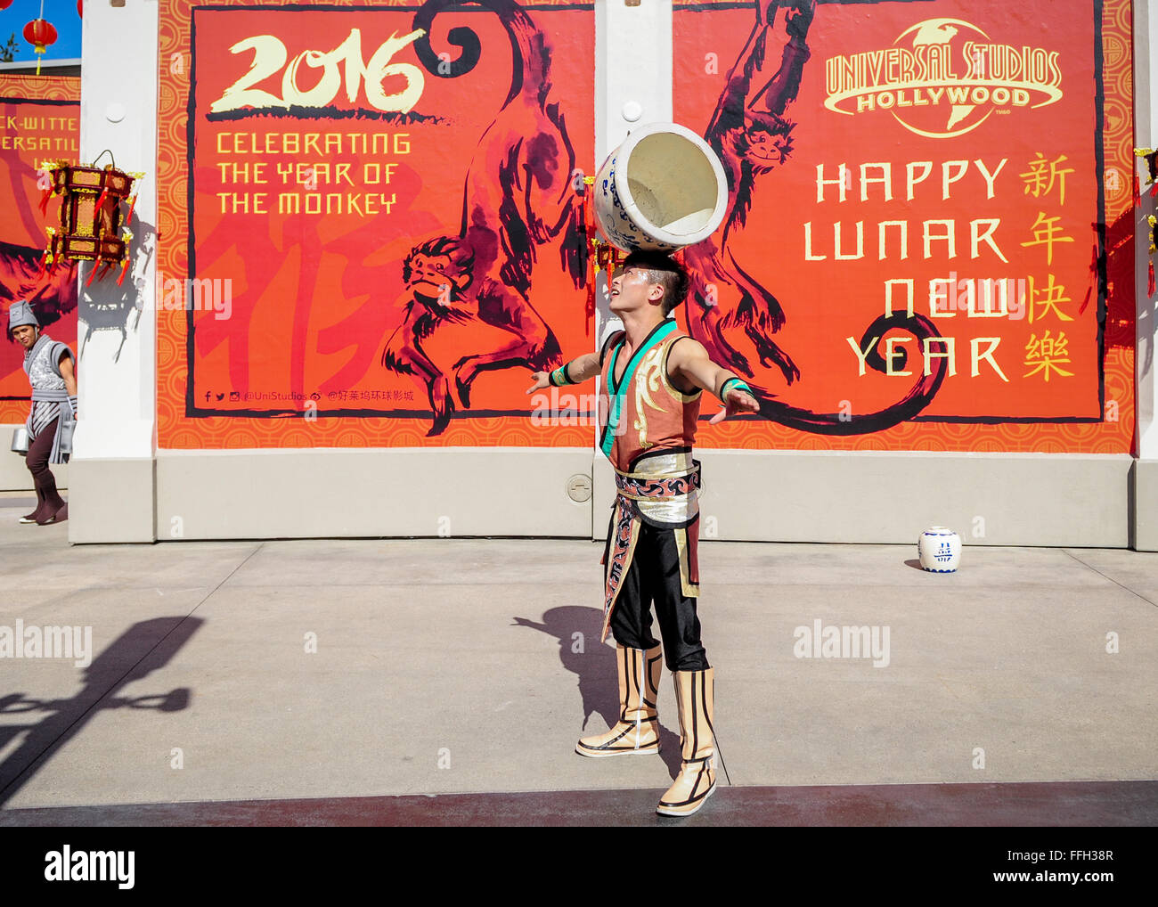 Los Angeles, California, USA. 13th Feb, 2016. A man performs during a celebration for promoting the 2016 China-US Tourism Year at Universal Studios Hollywood in Universal City, Los Angeles, California, on Feb. 13, 2016. The Universal Studios Hollywood together with the Consulate-General of China in Los Angeles and the China National Tourist Office in Los Angeles celebrated the Year of the Monkey and promoted the 2016 China-US Tourism Year at Universal Studios Hollywood on Saturday. Credit:  Zhang Chaoqun/Xinhua/Alamy Live News Stock Photo