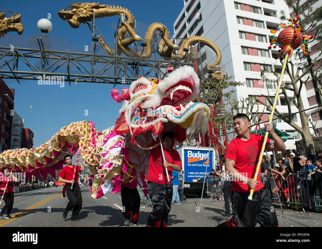 Los Angeles, USA. 13th Feb, 2016. Performers take part in the Chinese New Year Parade in Los Angeles, the United Stock Photo