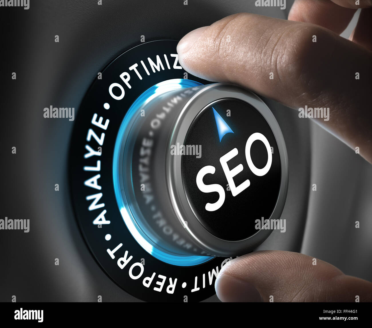 Man hand turning a knob in the optimize position. SEO process and planning concept. - Stock Image