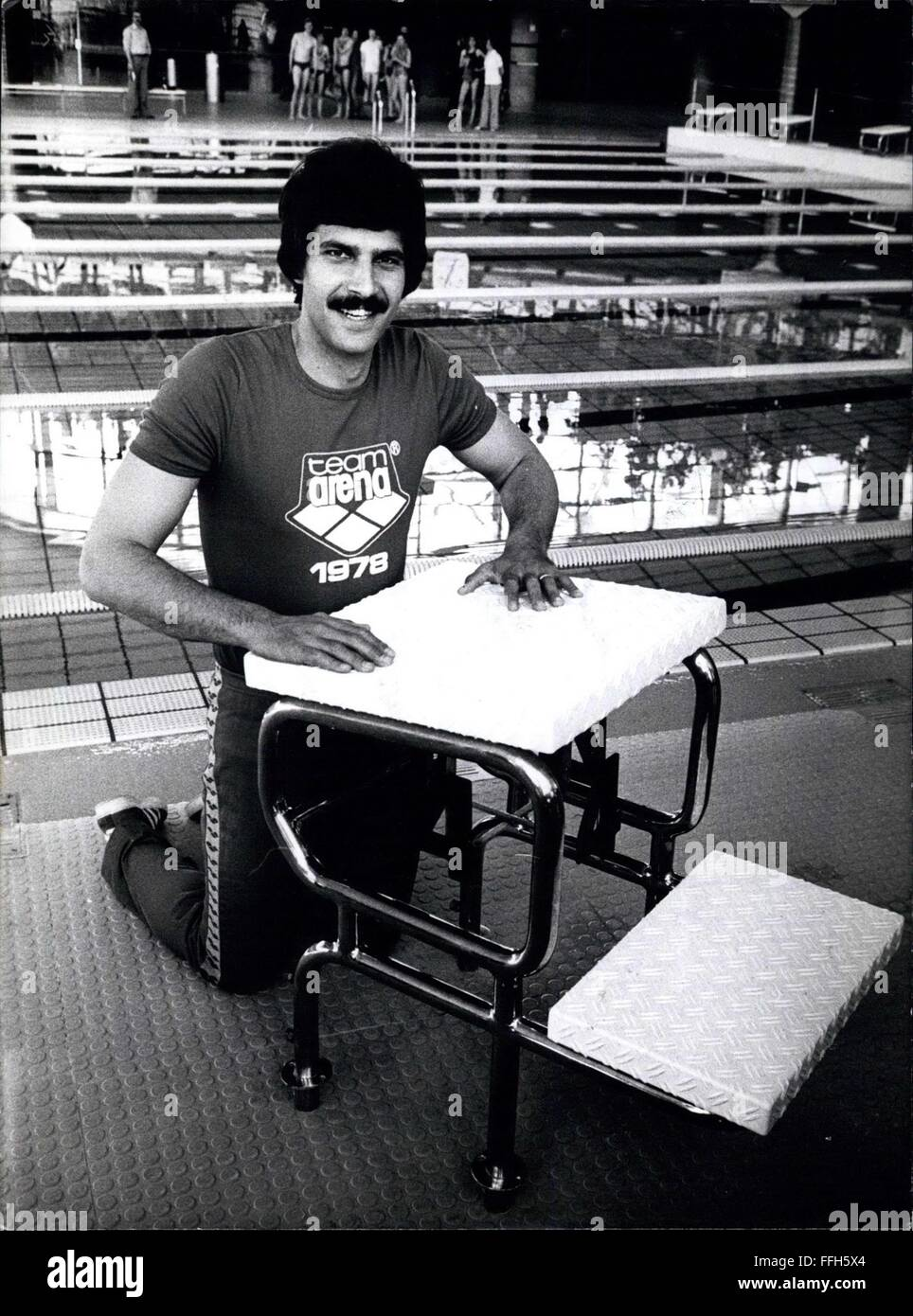 1972 - Mark Spitz in the Federal Republic of Germany. 7 gold medals Mark Spitz got in Munich 1972 at the Olympic Stock Photo