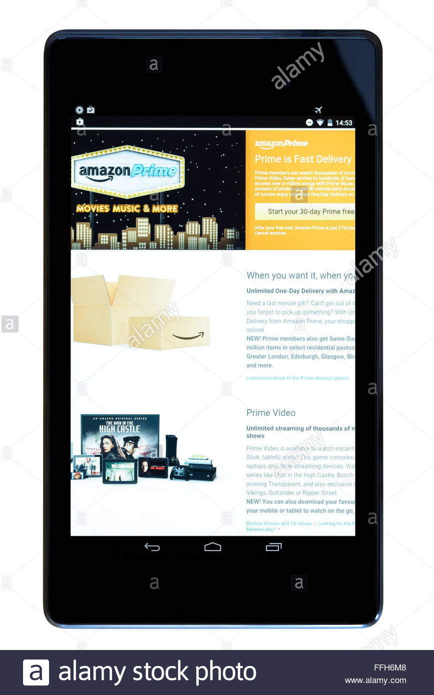 Amazon Prime next day delivery and video streaming app on an