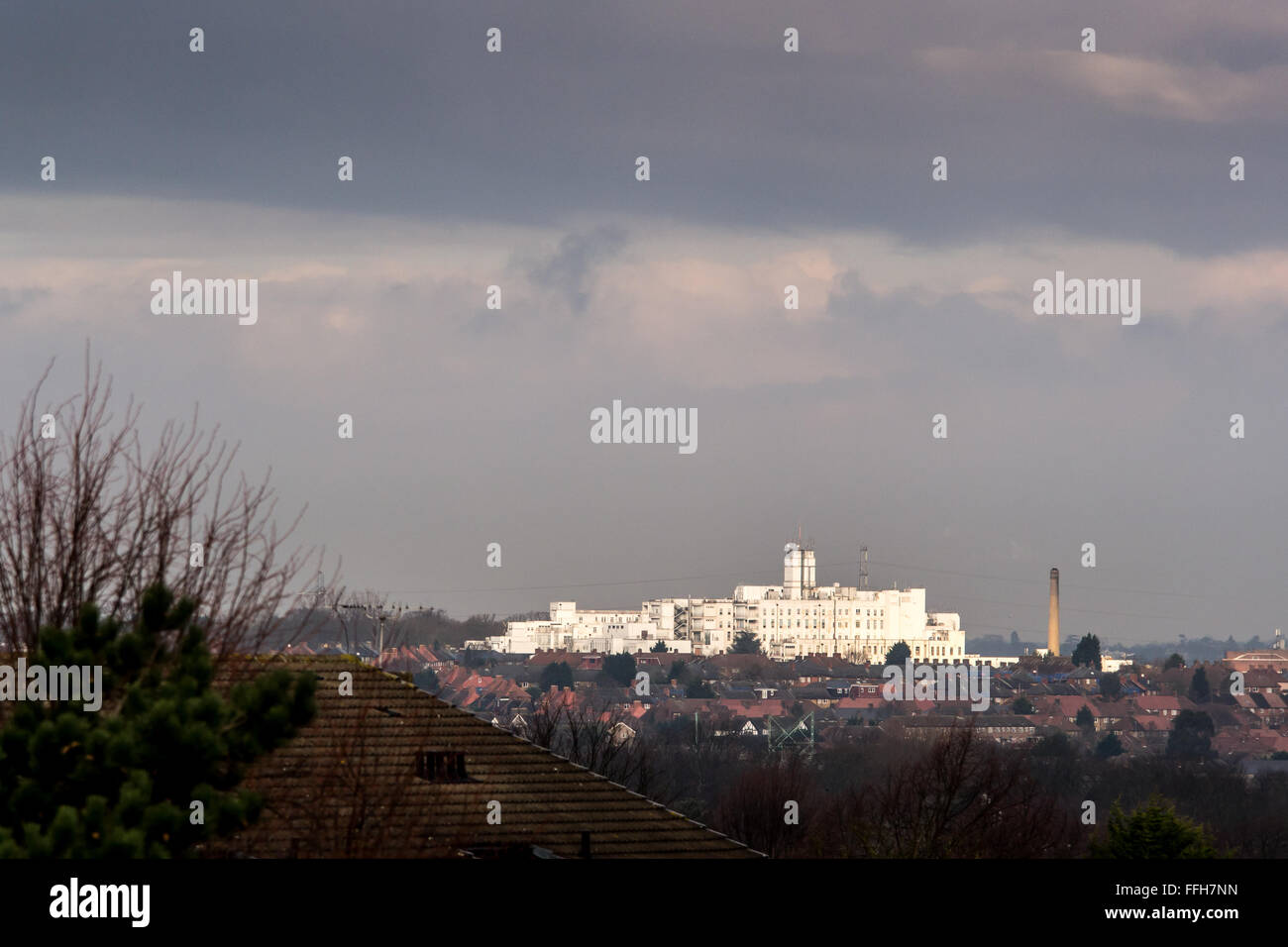The white buildings of St Helier Hospital and Queen Mary's Hospital for Children in the London Borough of Sutton - Stock Image