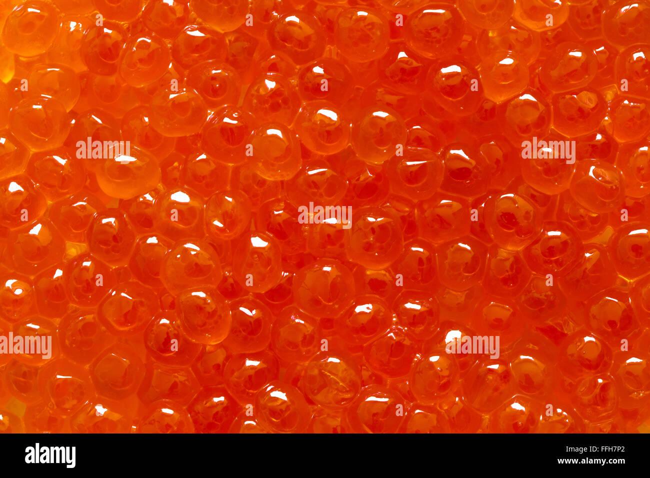 Closeup of red caviar. - Stock Image