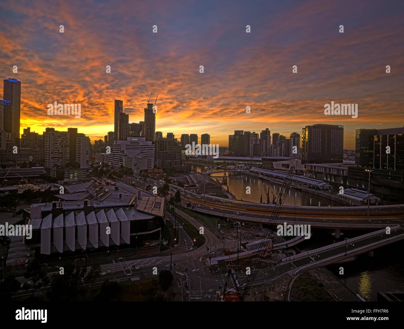 Sunrise Docklands Melbourne Cityscape HDR 9 layer photo - Stock Image